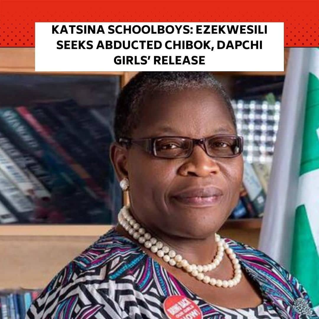 """A former Minister of Education, Oby Ezekwesili, has renewed her demand for the release of schoolgirls kidnapped in Chibok and Dapchi after 344 abducted Katsina schoolboys were freed on Thursday. . The PUNCH reports that hundreds of schoolgirls were kidnapped in Chibok and Dapchi in 2014 and 2018 respectively. . Though the terrorists later returned more than 100 students to Dapchi after talks with the government, a schoolgirl, Leah Sharibu, was not released for refusing to convert to Islam. . The former minister, who rejoiced over the release of the KankaraBoys, said their kidnap was avoidable. . She said this in a series of tweets on Friday, calling on the Federal Government and security agencies to secure the release of Chibok and Dapchi girls. . She tweeted, """"We rejoice in the freedom of our innocent #KankaraBoys! But, Nigeria is not being governed at all now. . """"All the characteristics of a Failing State are evident in this country and must be averted by citizens. . """"Nigeria needs a rapid Independent Medical Evaluation of @MBuhari and his Presidency @NGRPresident have reduced Nigeria to a laughing stock in the comity of nations. . """"Imagine the depth of incompetence that produces the kind of monumental failure of intelligence and security that again made abduction possible at all! . """"Where are the remaining 112 and the only remaining #DapchiGirls, who is a Prisoner of Faith? . """"@MBuhari should we assume the 344 (a new number from 333) went on an excursion to terrorists who have out of magnanimity released them to you? . """"When will 112 and #DapchiGirl, also be released by terrorists to an irredeemably uncaring @NGRPresident @MBuhari who has for 3 years and two years respectively not considered it worthy of a Leader to engage their parents? When will our Girls come home? . """"When was the last time the @NigeriaGov of @MBuhari rendered an account of the status of the Counterterrorism war to Nigerians? . """"Has the war not seemingly morphed into a Military Industrial Comp"""