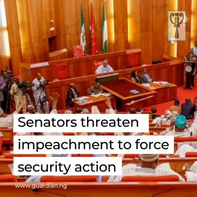 Against the backdrop of heightened insecurity, especially the recent kidnap of over 300 hundred students in Katsina, senators, yesterday, threatened impeachment and suspension of the Budget 2021 Bill to force President Muhammadu Buhari to act on the grave situation in the country.  Also, yesterday, the House of Representatives asked the authorities to urgently implement the Safe Schools Declaration to protect children and their teachers from attacks.  These came as Zamfara State closed boarding schools, northern elders, the Peoples Democratic Party, the Sultan of Sokoto, among others, raised the insecurity alarm to a higher pitch.  At the Senate, there was palpable anger as senators took turns to air their views on the deplorable security situation.  Debating on a motion sponsored by Senator Bello Mandiya (APC, Katsina South), which sought an investigation into the missing students, senators rejected, angrily, a call to invite service chiefs and Inspector General of Police for deliberation.  They submitted that the country had moved into a state of total collapse and urged the President to take full responsibility for massive security failure. 