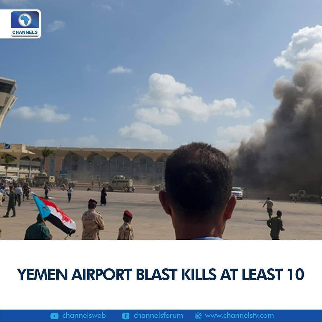 """At least 10 people were killed Wednesday as explosions rocked Yemen's Aden airport moments after a new unity government flew in, in what officials charged was a """"cowardly"""" attack by Iran-backed Huthi rebels.  """"Dozens"""" more people were wounded, a medical source told AFP, although all government ministers were reported to be unharmed.  Plumes of smoke billowed from the airport building in the southern city as debris lay strewn across the area, with people rushing to tend to the wounded, footage broadcast by Saudi television channel Al-Hadath showed.  """"At least two explosions were heard as the cabinet members were leaving the aircraft,"""" an AFP correspondent at the scene said."""