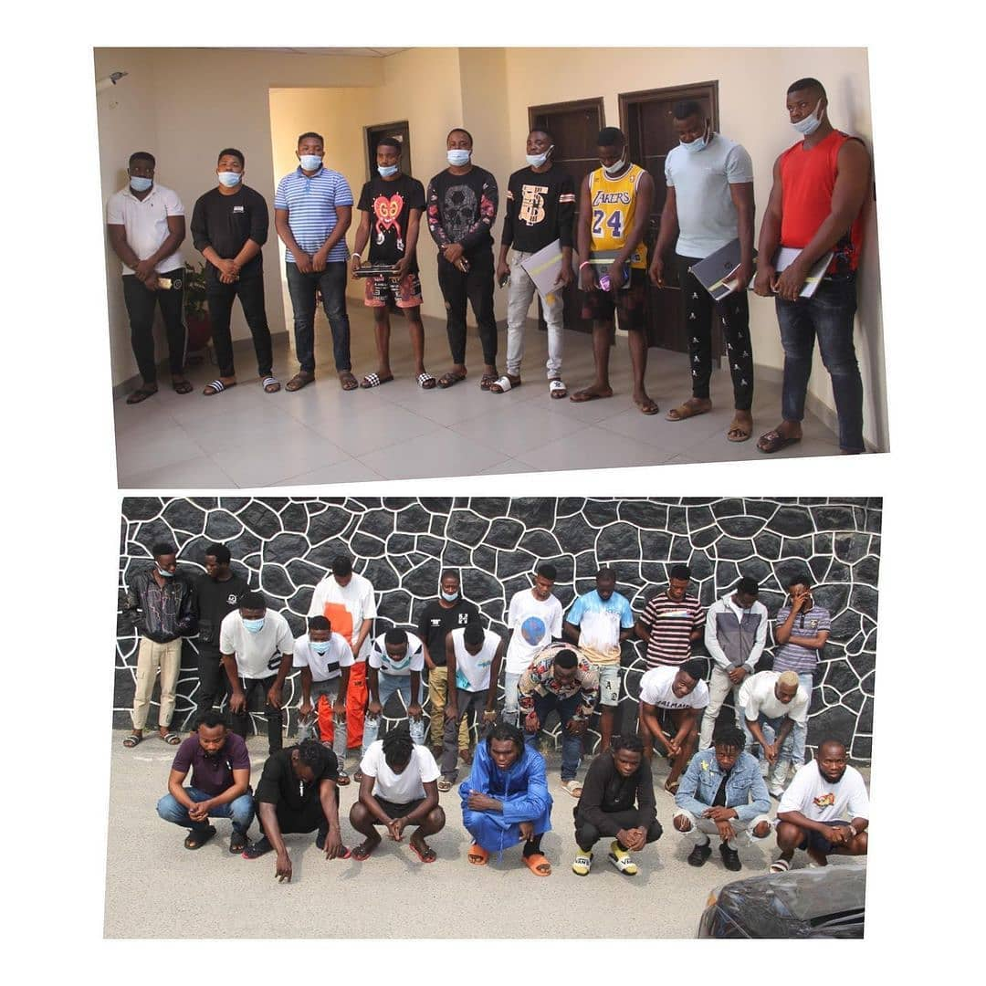 Christmas Hunt: EFCC harvests 32 suspected 'Yahoo' boys in Lagos . . Operatives of the Economic and Financial Crimes Commission, EFCC, Lagos Zonal Office, have arrested 32 persons for their alleged involvement in computer-related fraud.  . The suspects were arrested on Monday, December 21, 2020 during an early morning operation at Plot 12, Road 2, Goodnews Estate, Sangotedo, along Lekki-Ajah Way and Chevyview Estate, Chevron Drive, Lekki, Lagos, following credible intelligence received by the Commission about their alleged criminal activities.  . . The suspects had allegedly been defrauding unsuspecting members of the public of their hard- earned money before their arrest.