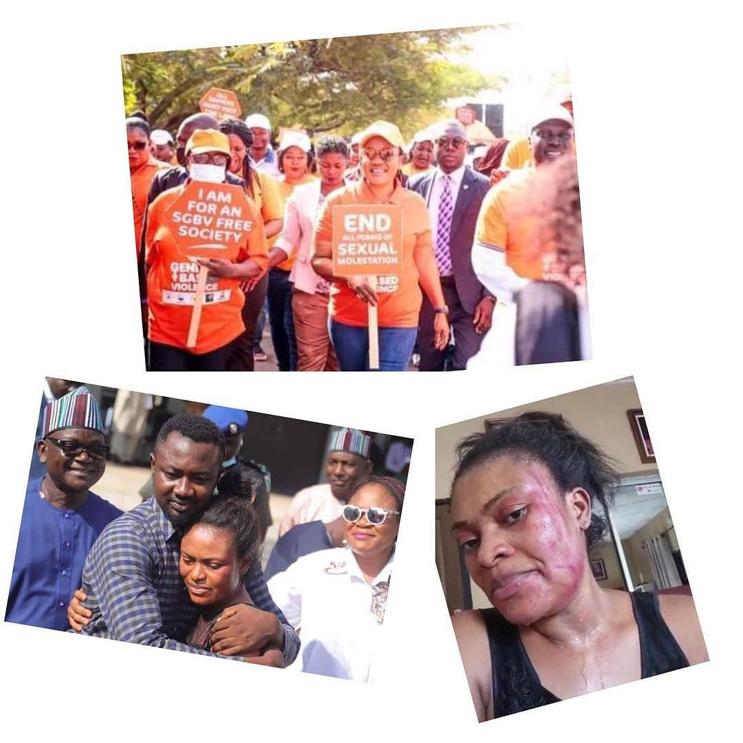 "Days after making Dr. Angbo go back to her abusive husband, Benue State First Lady leads walk against gender-based violence . . As part of activities to mark the closing ceremony of the year 2020 against Gender-Based Violence, GBV, the First Lady of Benue State, Dr Eunice Ortom, on Thursday, led participants in an awareness walk in Makurdi, the Benue State capital.  . . The First Lady led participants through major streets of the town terminated the walk at a hotel, where a dissemination meeting was held. Speaking at the dissemination meeting, Mrs Ortom cautioned that the people must not take the end of the period as the end of the fight against GBV. . . ""This is rather the time to build on the observations and experiences of the period in order to be more determined and committed to ending GBV in Benue State,"" She said. . . Recall, that on December 8, Dr. Eunice and her husband, Samuel Ortom, the Governor of Benue State, pleaded with Dr. Ifeyinwa Angbo to go back to her abusive husband, Pius."