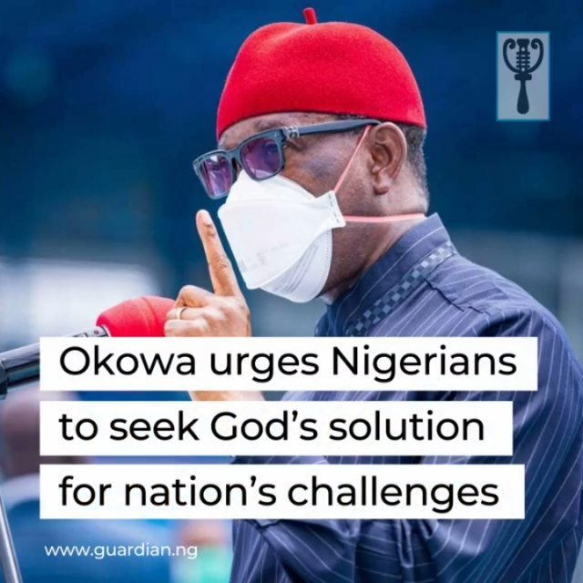 """Delta State Governor, Ifeanyi Okowa, yesterday, urged Nigerians to seek God's face for solutions to the challenges, especially economic recession and insecurity plaguing the country.  Okowa made the call during a Special Thanksgiving Service at Government House Chapel, Asaba, lamenting that insecurity and economic downturn appeared to be overwhelming relevant authorities, adding that Nigerians require God's intervention.  """"There is insecurity in the land and Delta State is not an exception, but God will continue to intervene. Insecurity is now greater than the presidency and the governors. It requires God's intervention, and therefore, we must continue to pray for God to intervene.  """"We are here to give thanks again because not too long ago, I had a thanksgiving. God has been faithful and will remain faithful to me, my family members, and Delta State in general.  """"I recognise the many challenges of the year. We saw COVID-19 that we had not seen before and it is still on. At a time people thought it was almost over, but the second wave is back globally and Nigeria is not spared. There is reason to give thanks to God over our lives because a lot of people are dying daily,"""" he stated. """