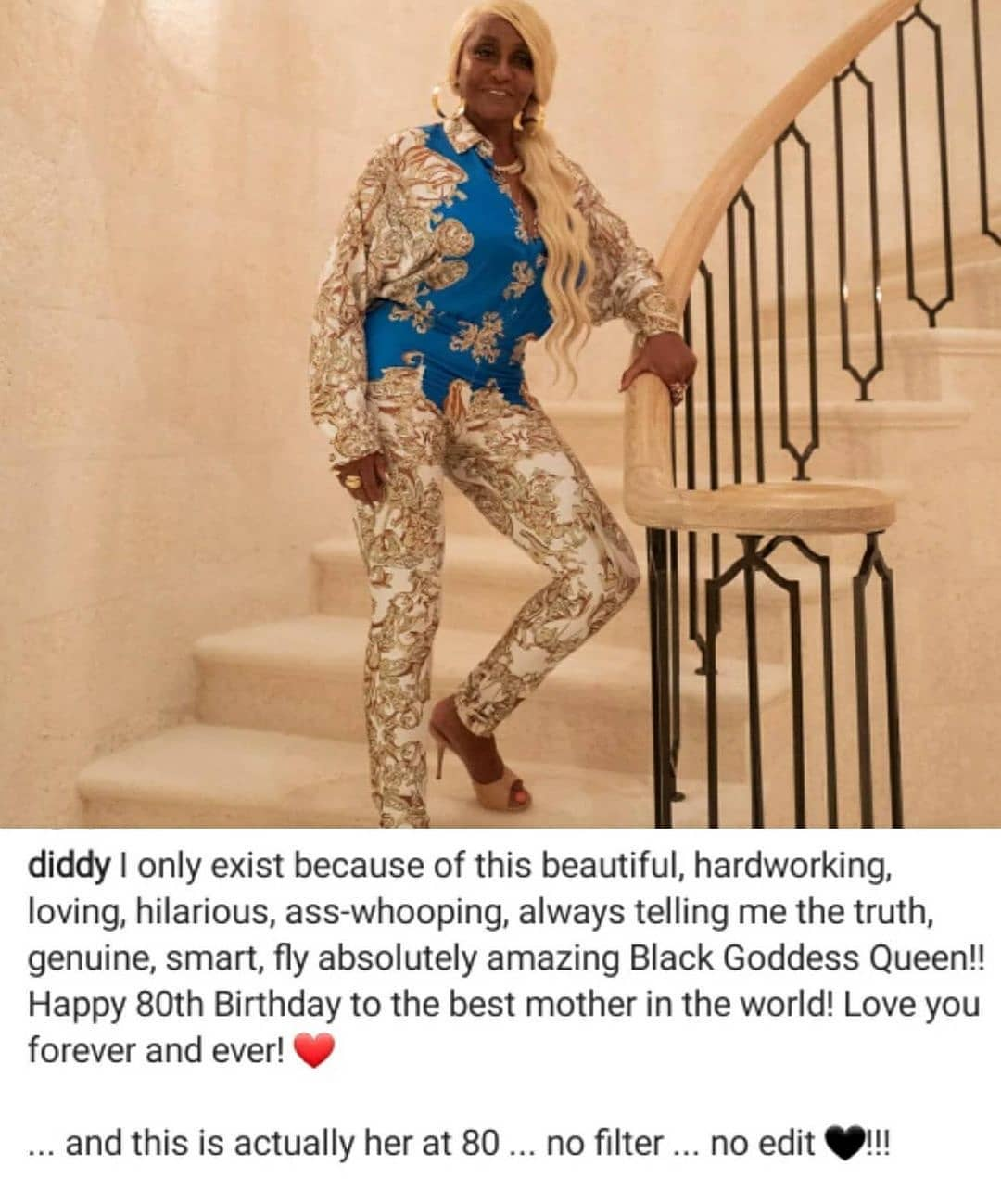 Diddy celebrates his 80-year-old mother. She looks amazing