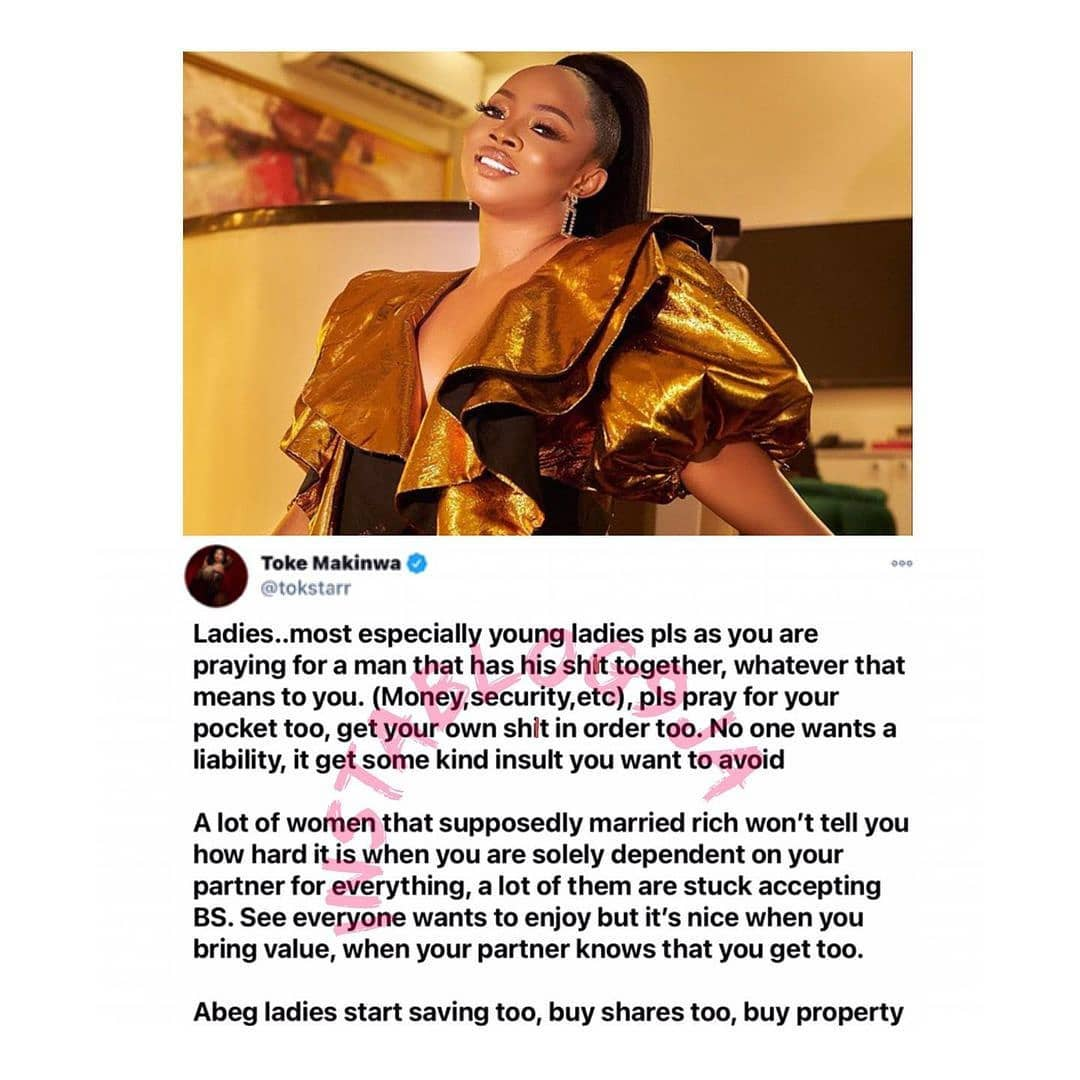 Ladies, a man with money is the icing on the cake and not the entire dough — Media personality Toke Makinwa [Swipe]