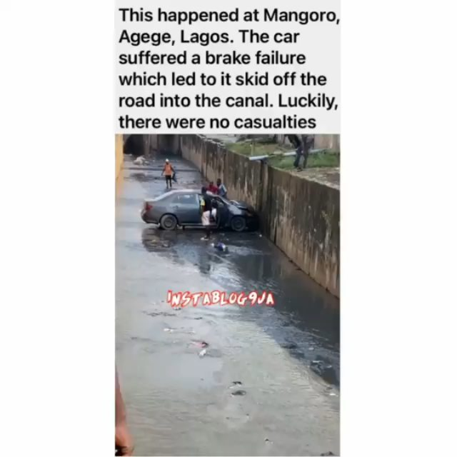 No deaths recorded as car skids off the road into a canal in Lagos
