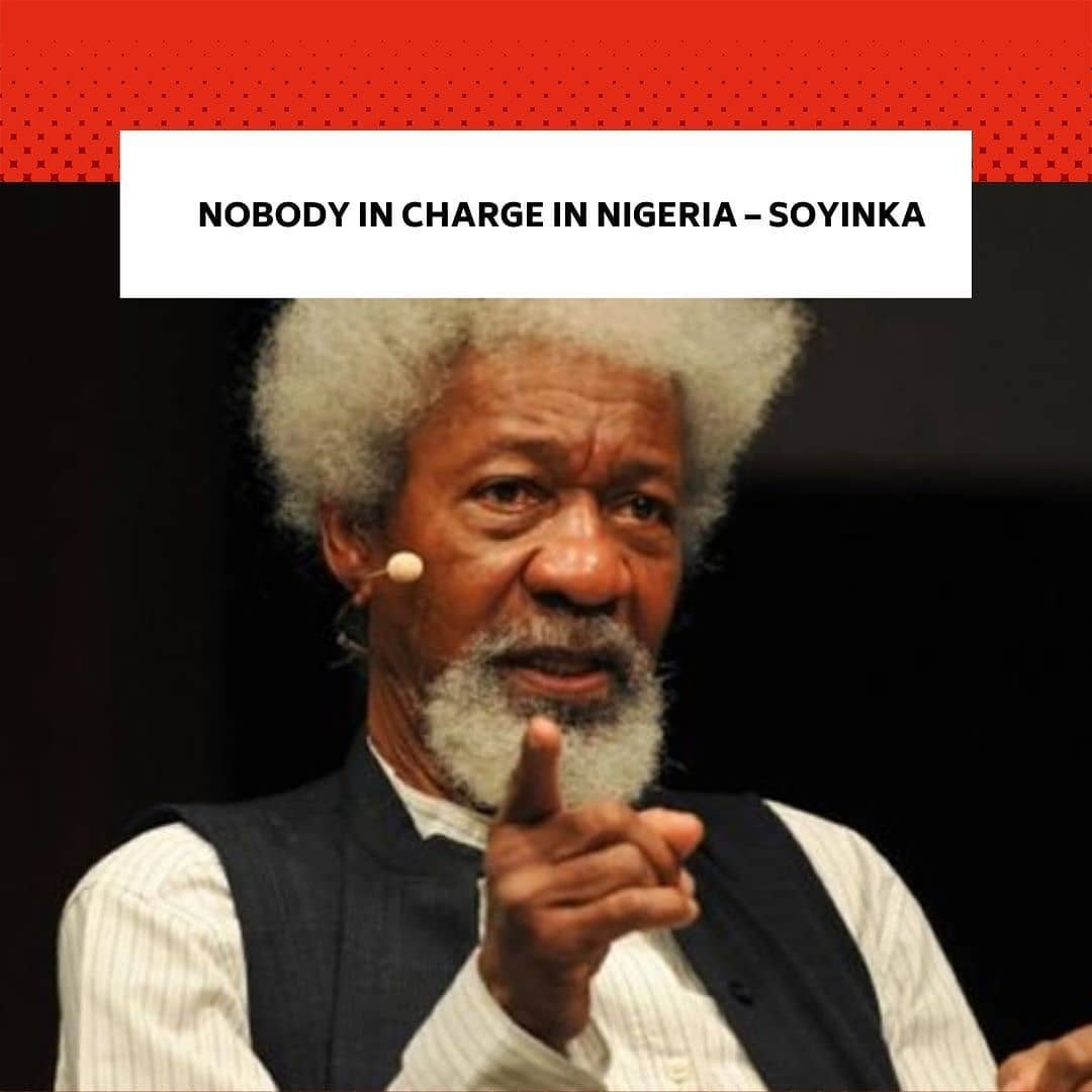 """Nobel Laurette, Prof. Wole Soyinka, has described the year 2020 as the most challenging year as a result of the vicissitudes of problems. . He added that Nigerian situation was worse as a result of the imperial nature of its leadership at the socio-political and religious levels. . Soyinka, a professor of Literature spoke at the Booksellers, venue of the presentation of his new book, 'Chronicles of the happiest people on earth,' a book with over 500 pages which took him about 40years to write. . Soyinka said, """"With the turbulence that characterises year 2020, and as activities wind down, the mood has been repugnant and very negative. I don't want to sound pessimistic but this is one of the most pessimistic years I have known in this nation and it wasn't just because of COVID-19, no. Natural disasters had happened elsewhere but how have you managed to take such in their strides? . """"Was calamity as a result of human negligence or as a result of malignant activities when people find themselves under the control of other beings which I am afraid what most Nigerians find themselves in, it is like you don't know from where the blow would descend. That is not the way a nation should be and that is not the way the citizens should exist. . """"Situation has reached a point where you are not very sure of where you are going and where you will end it. As I had said before, you don't believe, in many instances, that anybody is in charge. That, really, it is a parlous condition for any nation. So, I am afraid it has not been a very good year for me generally."""" --"""