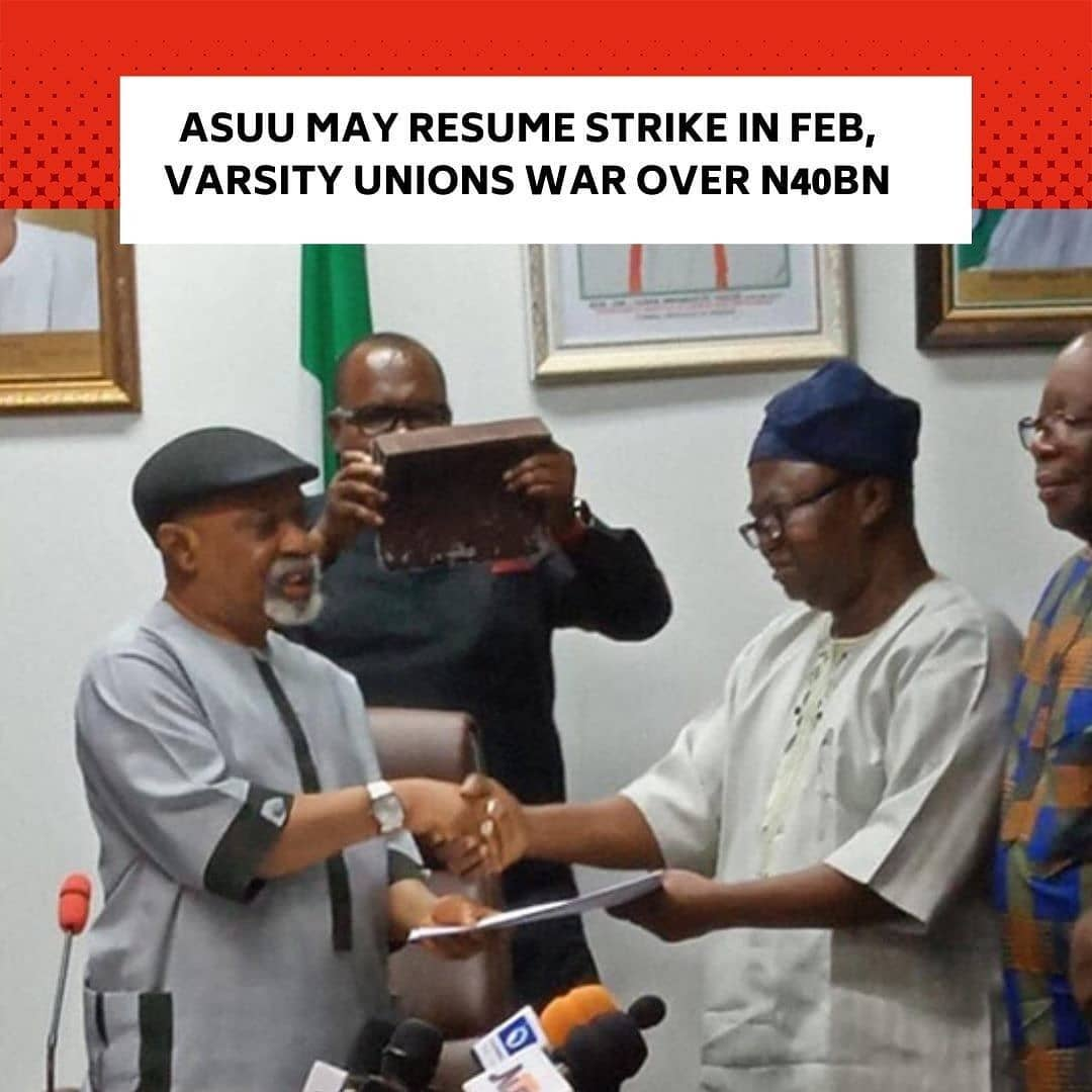 The Academic Staff Union of Universities on Wednesday indicated that it might resume its suspended strike in February if the Federal Government failed to implement agreements it signed with the lecturers. . The National President of  ASUU, Prof Biodun Ogunyemi, disclosed this in an interview with The PUNCH in Lagos while shedding more light on the decision of the union to suspend its nine-month strike. . But while ASUU ended its industrial action on Wednesday, non-academic unions in universities threatened to go on strike over  N40bn earned allowances government promised to release to all unions. . They described the sharing formula for the money as unfair. . Recall that ASUU  had on March 23 begun a nationwide strike over the Federal Government's insistence that all its employees must register for the  Integrated Personnel and Payroll Information System. . Although government argued that the IPPIS was meant to eliminate fraud, the union stated that it should not be applicable to universities on the grounds that it violated their autonomy. . In the alternative, ASUU developed the University Transparency and Accountability Solution, which it said would meet the peculiarities of universities. . Until Tuesday's meeting between the two sides, they had disagreed over UTAS, which government said would only be adopted if it tallied with the IPPIS. . Besides its opposition to the IPPIS, other demands of ASUU are setting up of visitation panels for universities, payment of earned academic allowances and revitalisation of infrastructure in the universities. . Ogunyemi,  in the interview with The PUNCH on Wednesday evening, said if the government reneged on its promises, members of the union would not hesitate to withdraw their services. --