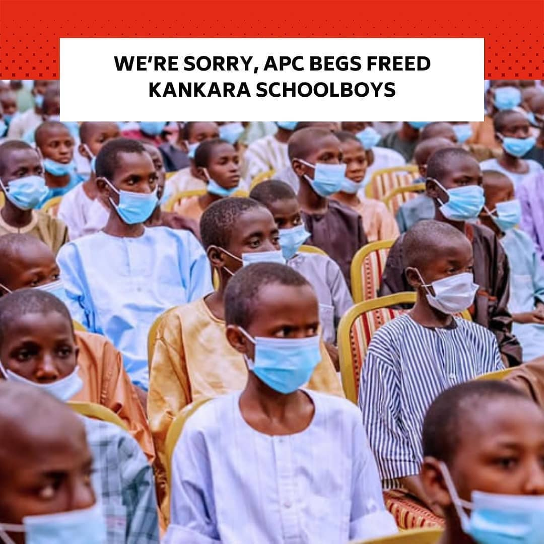 """The All Progressives Congress has tendered an apology to the recently abducted and released students of Government Science Secondary School, Kankara, Katsina State, for the trauma they were subjected to during their six days in captivity. . The ruling party assured the students that government would do everything humanly possible to ensure that their learning environment is safe and secure going forward. . This was contained in a statement titled, 'APC Welcomes Release, Commends Security Agents and Demands For Pre-Emptive Measures against Reoccurrence,' which was signed by the Chairman, Caretaker / Extra-Ordinary National Convention Planning Committee of the APC, Mai Mala Buni, in Abuja, on Saturday. . According to him, the party received with """"joy and a glad heart"""" the release and return of the students who were abducted by terrorists from their school . . The statement read in part, """"The party also apologised to the pupils and vow that President Buhari and the party will do all it takes to make sure that they continue to study in a safe environment. . """"We want to congratulate the parents of the children and also apologise on behalf of our party that one of our biggest promises was security and although we are doing our utmost best, such incidence is a sad event and must, at all cost not repeat itself. . """"As a party, we called on Nigerians not to loose their hope in our government and the security apparatus. . """"We thank all those who made this rescue effort possible, especially the Governors of Katsina and Zamfara States, the security agents across the country. . """"We do not doubt the capacity of our security agencies, we believe and know they are capable especially when they are well motivated and led, which we can assure is the case under President Muhammadu Buhari."""" --"""