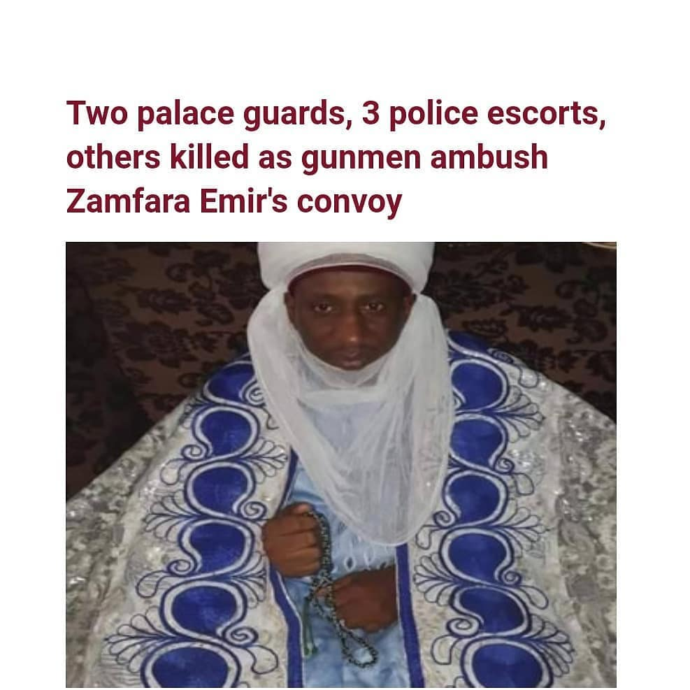 The Emir of Kaura Namoda in Zamfara State, Alhaji Sanusi Muhammad Asha, escaped death on Thursday night when gunmen ambushed his convoy, killing two palace guards, his driver, three policemen and two others along Zaria-Funtua road.  It was gathered that the incident happened on Thursday night while he was on his way from Abuja to Kaura-Namoda in Zamfara State.  According to the sources, the Emir who was in his official vehicle with a Toyota Hilux forming part of the convoy didn't sustain any injury but eight occupants of the Hilux including the driver, two palace guards, three police escorts and two traditional title holders, were all killed by the gunmen.  It was further gathered that the incident which occurred close to midnight made the Emir to spend the night at Funtua police station.  The Kaura Namoda Emirate Council are making arrangements to convey the bodies of those killed for burial.   One of those killed in the attack were Dan Amal of Kaura, who doubled as the father to the Emir, Shinfidan Kaura and Sarkin Dogarai. See photos of some of the victims including an NSCDC official as posted by a resident of the palace.