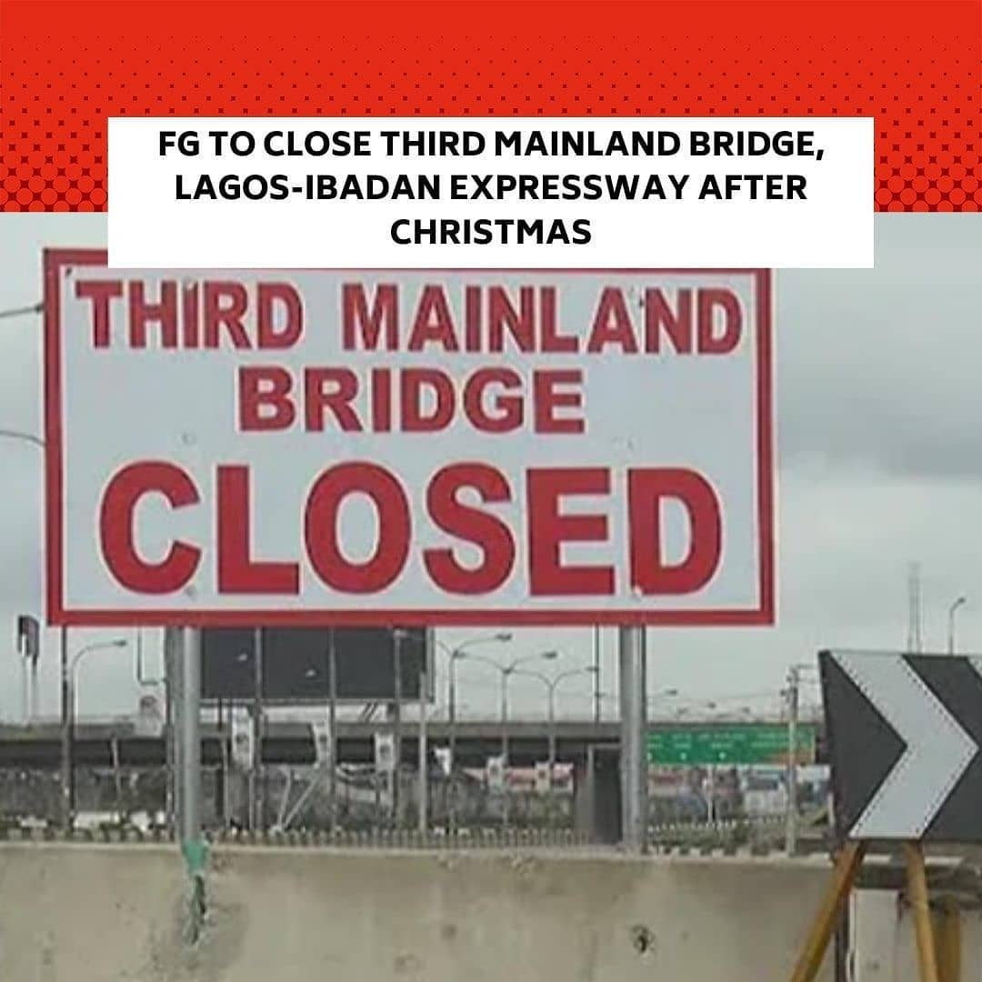 "The Federal Controller of Works Lagos, Mr Olukayode Popoola on Tuesday announced a 72-hour total closure of the Third Mainland Bridge to cast concrete on the expansion joints. . Popoola told the News Agency of Nigeria in Lagos that the shutdown will take effect from midnight on Saturday to midnight on Tuesday. . He added that construction works had reached the stage for casting concrete on additional three expansion joints. . ""There is going to be a total closure of Third Mainland Bridge in order to allow for the casting of three number expansion joints on the Island Bound lane . ""The effective date of the closure will be from 12:00 midnight on 25th of December. So, people will be allowed to use the Third Mainland Bridge to celebrate Christmas.  ""By the time the Christmas is winding down which is 12:00 midnight, we are going to close it so that we will be able to cast the concrete on Saturday the 26th and 27th. . "" And we need about 72 hours for this concrete to set. Therefore, the opening will be on December 28th midnight – that is 72-hour closure. . ""This is to prevent vibration of the bridge. If we allow vehicles to be moving on one lane, there is going to be vibrations and the concrete will not set properly,"" he said. . The controller said that all the alternative routes are in good condition and traffic regulatory agencies have been deployed to effectively divert and manage traffic to avert gridlock. . He appealed to road users to cooperate with traffic regulatory agencies. . Popoola also announced a 48-hour partial closure of the Lagos-Ibadan Expressway from December 28 to December 29 to complete some work on a flyover bridge on the project. . ""The contractor, Messers Julius Berger wants to install cross beams at Kilometre 16, that is, around MFM. . ""That area will be cordoned off, there will be closure within that section from 12:00 pm on 28th of December and it will be opened to traffic by 5:00 am the following day. . ""200 meters to get to that particular location, we have diversion and another diversion 200 meters away from that place."