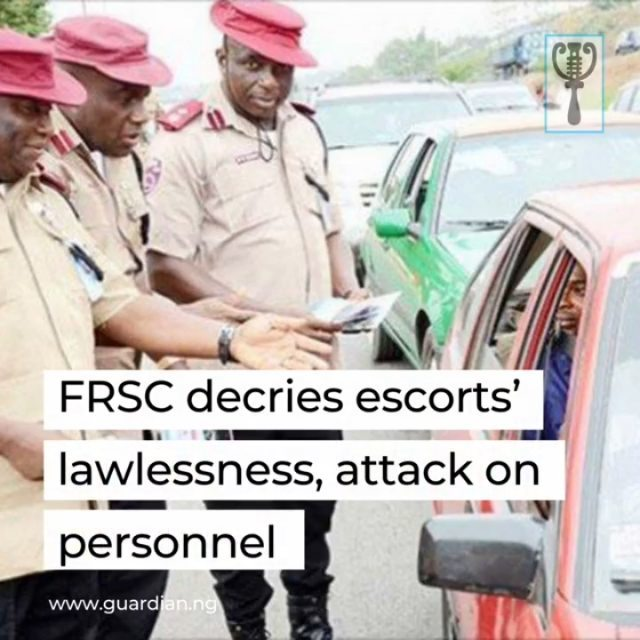 The Federal Road Safety Corps (FRSC), Lagos State Sector Command, has decried impunity and lawlessness by some security operatives providing escorts to Very Important Persons (VIPs) on the road, saying their disregard for traffic law is inimical to safety and free flow of traffic.  The Lagos Sector Commander, FRSC, Olusegun Ogungbemide, made this known following the traffic gridlock caused by one-way driving by a police escort of a supposed VIP at Ibafo area on Lagos-Ibadan Expressway at about 0700hrs Monday, December 14, 2020, and the police attack on FRSC operatives from Ibafo outpost who were trying to ease the gridlock.  The FRSC, in a statement by its Public Education Officer, Olabisi Sonusi, warned that lawlessness would no longer be accepted and promised to prosecute any security operative who attacks any of its personnel. 