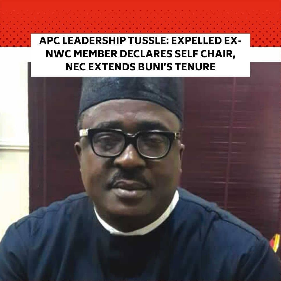 """The former National Vice-Chairman (South-South), All Progressives Congress, Hilliard Eta, has rejected his expulsion by the National Executive Committee of the party, which met at the Presidential Villa, Abuja, on Tuesday. . He described the Mai Mala Buni-led Caretaker/Extraordinary National Convention Planning Committee as an illegal contraption, which had no constitutional powers to make pronouncements on issues it had so far delved into concerning the party. . He said he remained the acting chairman of the party. . The NEC had announced the extension of the tenure of the party's Caretaker/Extraordinary Convention Planning Committee by six months, effective December 25, 2020. . The decision was taken at a meeting of the committee attended by the President, Major General Muhammadu Buhari (retd.); Vice-President Yemi Osinbajo, and other party chieftains. . While Buhari, Osinbajo, leaders of the National Assembly and state governors elected on the platform of the party attended the meeting at the Council Chamber of the Presidential Villa, Abuja, other party chiefs participated virtually.  Kaduna State Governor, Nasir El-Rufai, briefed State House correspondents at the end of the meeting. . He was joined at the briefing by the governors of Ondo and Imo states, Rotimi Akeredolu and Hope Uzodinma. . El-Rufai said NEC also approved the expulsion of Eta for his failure to withdraw the court case instituted against the caretaker committee. . The governor said the NEC also dissolved all state, zonal and national party structures. . He also announced that the party granted waivers to some new members to enable them contest elective offices without waiting for a particular period of time. . El-Rufai stated, """"The National Executive Committee of the party approved the extension of the tenure of the Caretaker/Extraordinary National Convention Planning Committee led by Mai Mala Buni, which expires on December 25, 2020, for another six-month period, to terminate on June 30, 2021. """