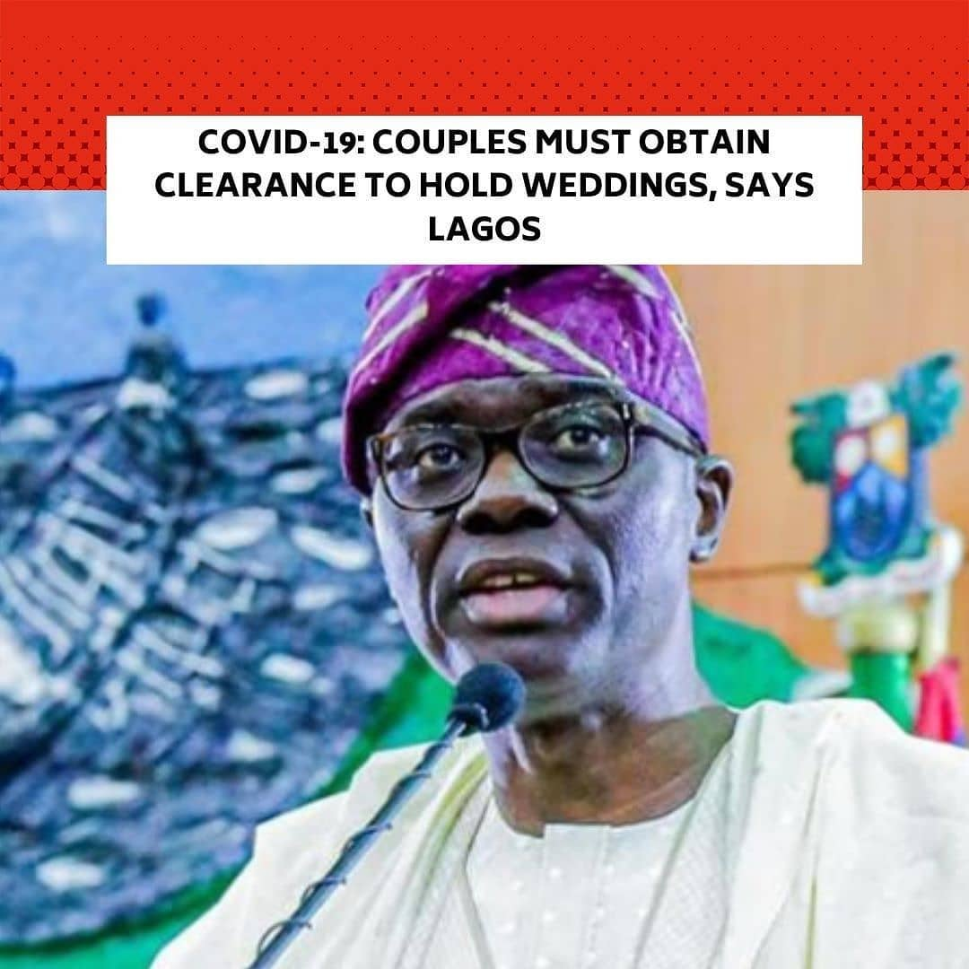 """The Lagos State Government has made it mandatory for prospective couples to obtain clearance from the state government to hold weddings with 300 people in attendance. . This was contained in a notice by the state government on Friday, titled, 'Stay At Home'. . """"Weddings and social gatherings must not exceed 300 people with prior clearance from the Lagos State Safety Commission,"""" the notice partly read. . The Director-General of the Lagos State Safety Commission, Lanre Mojola, confirmed the development in an interview with The PUNCH on Saturday morning. . He said the state government is concerned about large gatherings and big weddings as the state experiences a spike in the number of Covid-19 cases. . Mojola told our correspondent that the clearance is free and prospective couples will have to go on the Commission's website to input the details of their weddings, adding that safety marshals will be deployed to such events to enforce all Covid protocols to prevent any possible spread of the virus. . The director-general said, """"If it is not a big wedding, maybe 50 people, 100 people, we are not really concerned. But if it is a large gathering with 300 people and above, it is mandatory that you get a clearance. It is a free clearance; no payment whatsoever. . """"The process is not difficult, you go online and input the details of the wedding. There might be a requirement to have safety marshals on ground, depending on the size of the wedding. . """"The move is to put in place some control measures to prevent super-spreader weddings and hold people accountable. It also helps us in planning. For instance, if we are envisaging 500 guests at a wedding, there will be more attention on them. We will do our regular patrols and visit such places to ensure that they comply with safety protocols."""" --"""
