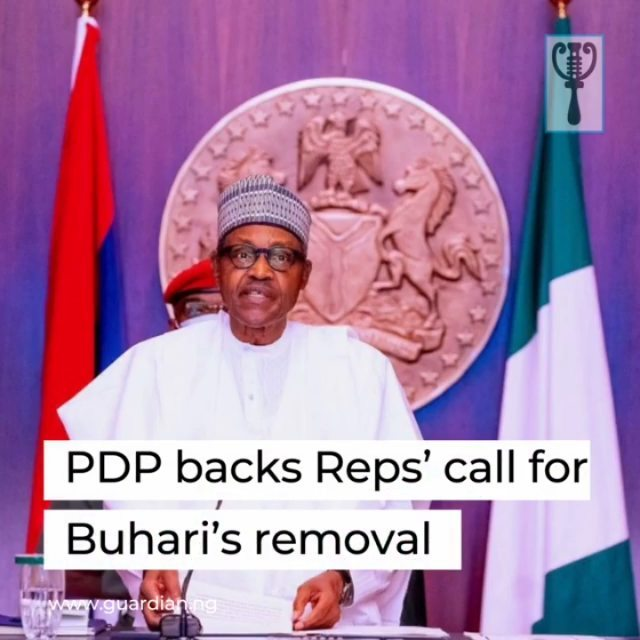 "The Peoples Democratic Party (PDP) has backed the call by its caucus in the lower legislative chamber of the National Assembly, urging Nigerians to direct their representatives, across party lines, to commence the impeachment process against President Muhammadu Buhari.⁣ ⁣ Maintaining that the appeal was constitutional and democratic, the main opposition party stated: ""It is a direct reflection of the mood and desires of the Nigerian people, given President Buhari's manifest failure in all spheres of governance and particularly in failing to provide an effective leadership that can guarantee the security of our nation and rescues our economy, which has collapsed in his hands.""⁣ ⁣ The PDP, in a statement yesterday by its National Publicity Secretary, Kola Ologbondiyan, made it clear that it had always called on the legislators in both chambers, irrespective of political affiliations, ""to stand on the side of the people by deploying the legislative instruments provided in the 1999 Constitution (as amended) to rescue the ship of state.""⁣ ⁣ It went on: ""The Buhari administration has already accepted failure as reflected in the declaration by one of its officials, that the nation is now at the mercy of bandits and terrorists, a development that signals that it has outlived its usefulness.""⁣ ⁣"