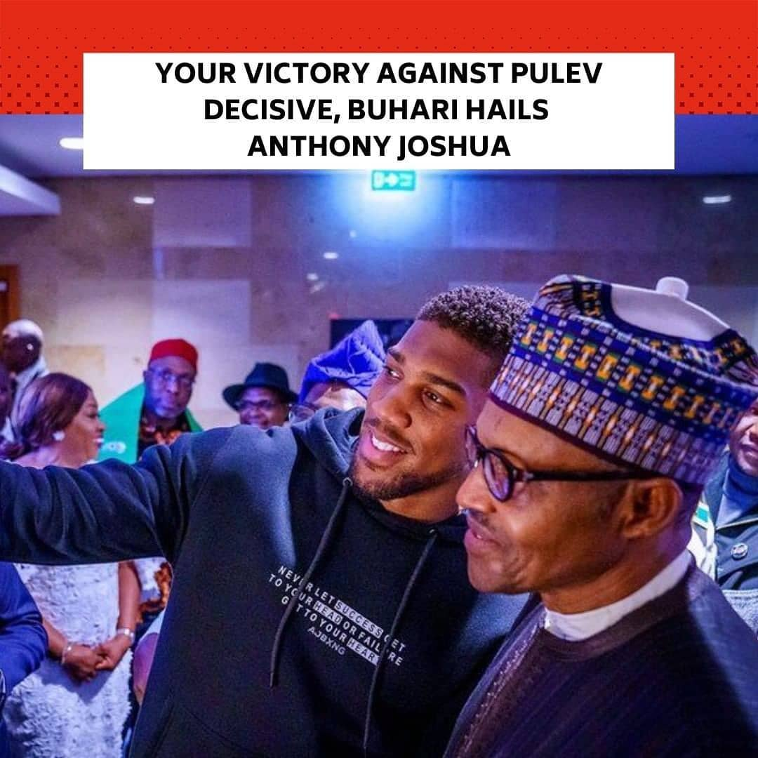 """The President, Major General Muhammadu Buhari (retd.), has commended Nigerian-born boxer, Anthony Joshua, over his victory against Kubrat Pulev Saturday night. . This was contained in a press statement by Special Adviser to the President (Media and Publicity), Femi Adesina, titled, 'President Buhari hails Anthony Joshua's victory over Pulev' on Sunday. . The statement read, """"President Muhammadu Buhari celebrates the decisive victory of Nigerian-born boxer, Anthony Joshua over Kubrat Pulev Saturday night. . """"The President says by retaining his IBF, WBA, and WBO titles, Joshua has given boxing lovers round the world, and particularly in Nigeria, something to cheer. . """"He recalls his meeting with the heavyweight champion in London earlier in the year, describing Anthony Joshua as a humble, well brought up young man, """"who will still go places."""" . """"President Buhari wishes Joshua all the best in his dream fight against Tyson Fury, saying he has the prayers and goodwill of Nigerians going with him."""" --"""