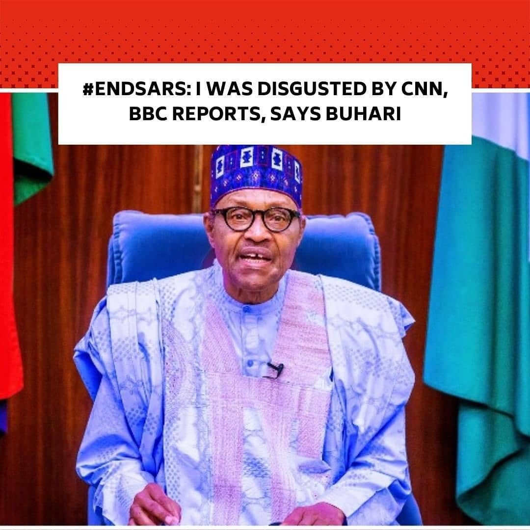 """The President, Major General Muhammadu Buhari (retd.), on Wednesday, expressed his displeasure over the coverage of the protests by foreign media platforms. . According to the president, the CNN and BBC failed to balanced their stories by not giving attention to the cops killed and police stations razed in the aftermath of the protests. . """"It must be said that foreign press coverage of the ENDSARS violence was not balanced, especially from CNN and BBC. . """"I was disgusted by the coverage, which did not give attention to the policemen that were killed, the stations that were burnt, and prisons that were opened,"""" @MBuhari tweeted today."""