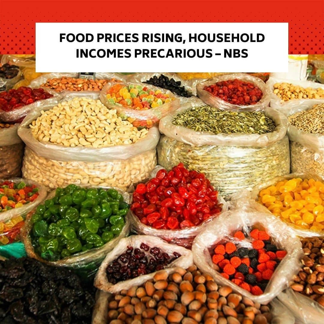 "The prices of most food items increased in November this year, while the incomes for many households are still in precarious situations, the National Bureau of Statistics has said. . In its Selected Food Prices Watch for November 2020, the NBS stated that selected food price watch data in the review month reflected that the average price of one dozen of agric eggs, medium size, increased year-on-year by 6.64 per cent. . It said the commodity also increased month-on-month by 1.42 per cent to N494.72 in November from N487.81 in October. . The bureau stated that the average price of a piece of agric egg, medium size, (price of one) increased year-on-year by 8.68 per cent and month-on-month by 2.36 per cent to N44.75 in November from N43.72 in October. . It further stated that the average price of 1kg of tomato increased year-on-year by 25.86 per cent. . The NBS stated that 1kg of tomato increased month-on-month by 2.77 per cent to N316.16 in November from N307.63 in October. . For rice, it said the average price of 1kg of rice (imported high quality sold loose) increased year-on-year by 23.46 per cent and month-on-month by 3.71 per cent to N549.98 in November from N530.32 in October. . ""Similarly, the average price of 1kg of yam tuber increased year-on-year by 16.26 per cent and decreased month-on-month by -2.72 per cent to N236.25 in November from N242.87 in October,"" the bureau stated. . Also, in its COVID-19 Impact Monitoring report for October, the bureau stated that while the share of respondents who were working remained stable in October at 87 per cent, findings provided further evidence that income remained precarious for many households. . It stated that of the 84 per cent of households that operated a non-farm enterprise at any point in 2020, about 22 per cent were not operating their businesses in October. .  The bureau therefore noted that if household income continued to be precarious, this might limit the investments which households would be able to make in education and health services for their members, even if schools fully reopened and the government supported more testing and vaccination."