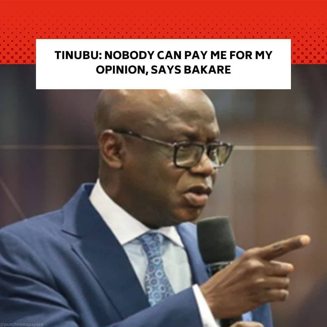 "The Serving Overseer of the Citadel Global Community Church in Lagos, Pastor Tunde Bakare, has slammed people who criticised a sermon in which he commended a former Governor of Lagos State, Asiwaju Bola Tinubu, for his contributions to the country. . Bakare, while describing his critics as 'undertakers,' urged those with proof that he was bribed to speak out. . He insisted that nobody was rich enough to pay him for his works. . The fiery preacher had last Sunday compared Tinubu to Jephtah in the Bible, saying he fought many battles for the Yoruba and ""delivered Lagos State and nearly all the South-West states from the onslaught of the PDP from 1999 to 2007."" . Mixed reactions trailed the message, as many wondered why Bakare, who once spoke against Tinubu turned around to praise him. . The preacher, while speaking to his congregation on Sunday at the church's headquarters in Ikeja, Lagos, in another message, titled, 'There is None Holy as the Lord,' wondered why people judged him based on the clip on Tinubu that went viral without listening to the full sermon. . He said, ""One would have thought that the whole message of over an hour would be listened to so that the context of the clip that went viral would be listened to before judgment is passed by those who considered us to have taken a 360-turnaround compared to the thoughts we had taken previously about the man many love to hate and many hate to love. . ""Instead, the bath water and the baby were both thrown out by some self-appointed undertakers who think the way forward in our dilemma as a nation is to uproot the tares and separate them from the wheat long before the harvest time ordained by God. . ""The same undertakers wilfully forget that the current mixture of the bad, the good, and the ugly in the polity are a result of the negligence of our past and present leaders, who slept on duty and allowed the enemy to sow the tares while the good man had planted good seeds on the ground."" --"