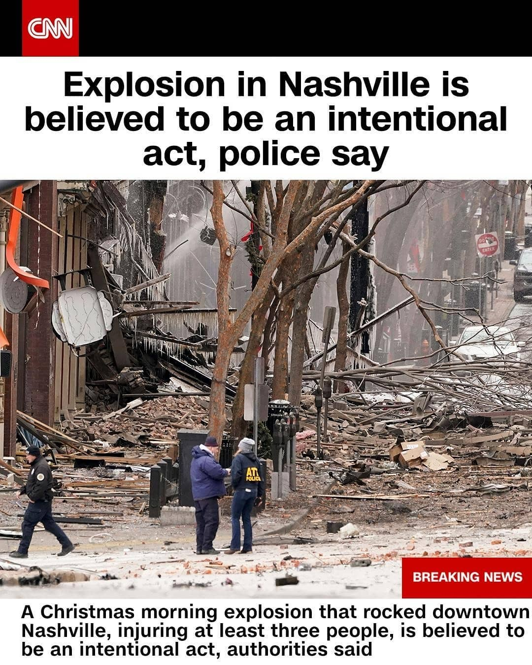 """Three people were transported to hospitals following an explosion Friday morning in downtown Nashville, which authorities believe was an intentional act. """"Significant damage has been done to the infrastructure there on 2nd Avenue North,"""" said police spokesman Don Aaron. The FBI told CNN that its field office in Memphis is taking over the investigation. Tap the link in our bio for more on this breaking story. """