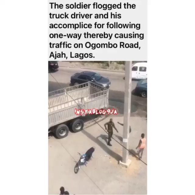 Traffic offender and his accomplice bag serious whooping from an alleged soldier in Lagos