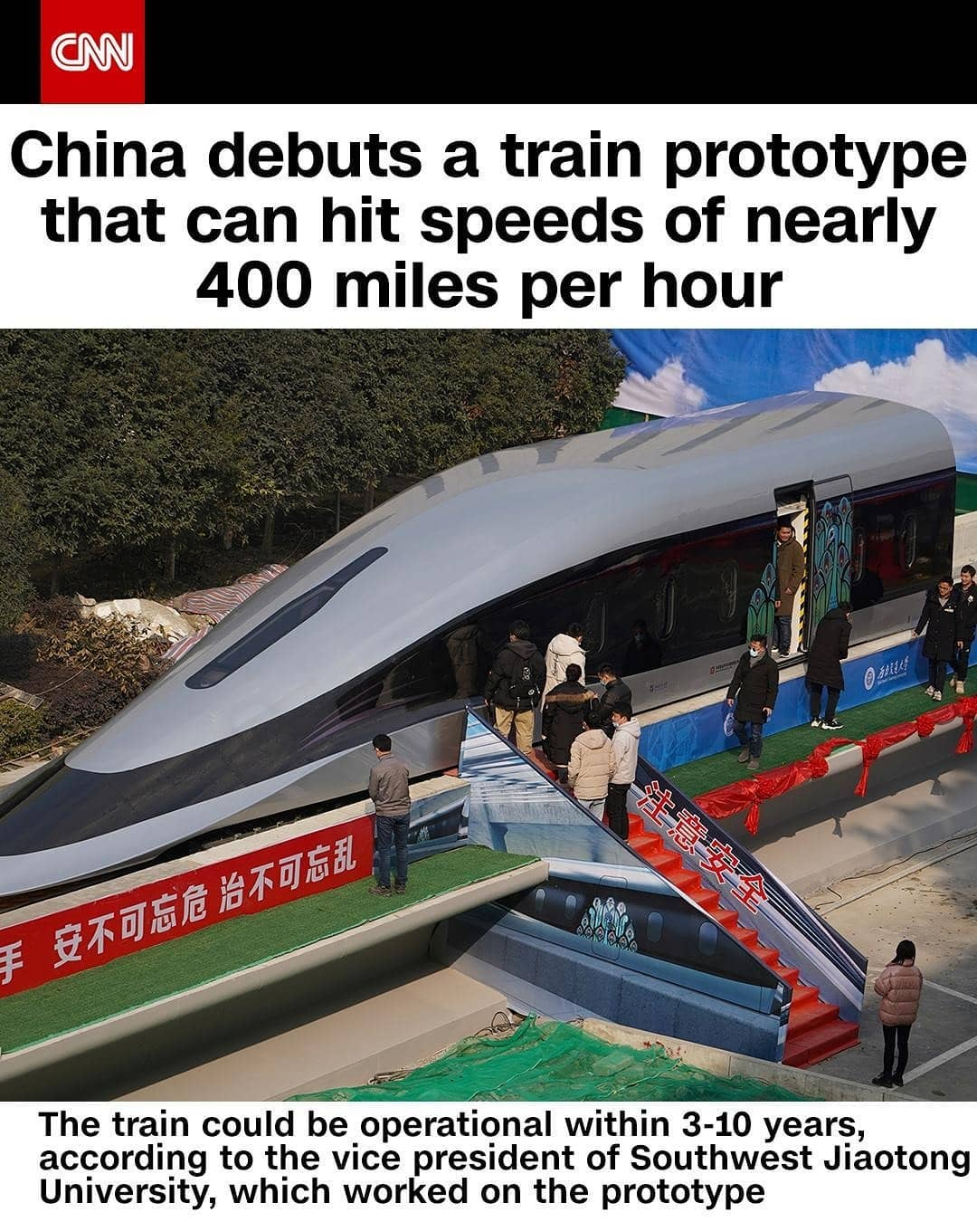 China has revealed a prototype for a new high-speed Maglev train that is capable of reaching nearly 385 miles per hour. The train could be operational within 3-10 years, according to Professor He Chuan, vice president of Southwest Jiaotong University, which worked on the prototype. It runs on high-temperature superconducting power that makes it appear as if the train is floating over magnetized tracks. The country's first high-speed Maglev train, which began operating in 2003, runs at around 250 mph.  