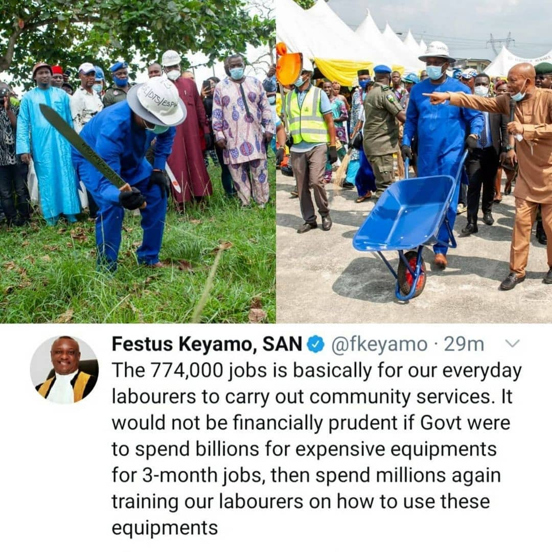 Festus Keyamo reacts after Twitter users drag him for distributing cutlasses to Nigerians as means of empowerment