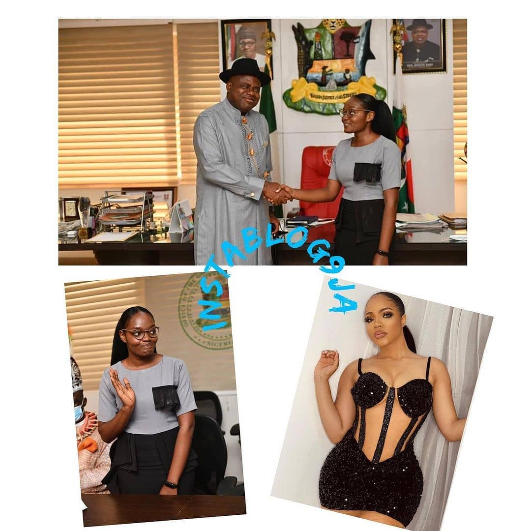 Gov. Diri yanks BBN's Nengi off as Face of Bayelsa Girl Child, replaces her with 1st class law graduate . . Governor Douye Diri of Bayelsa State has removed BBN's housemate, Nengi Hampson, as the Face of Bayelsa Girl Child and replaced her with Ebizi Blessing Eradiri, who graduated with a First Class Honours at both Niger Delta University, Amassoma and the Nigerian Law School.  . . Gov. Diri, made the announcement when he received her in his office in Yenagoa, on Monday, January 11.  . . Meanwhile, Eradiri has been awarded academic scholarships for her Masters and Ph.D in any University in the world as well as automatic employment as lecturer in the Faculty of Law, Niger Delta University. . . This is coming barely a month after many Nigerians, including activist CharleyBoy, faulted the appointment of Nengi.
