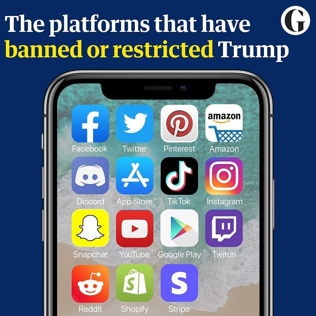 It took a Trump-supporting mob storming the US Capitol in Washington last week for companies to ban the outgoing president from their platforms.  Facebook, Snapchat and Twitch suspended Donald Trump indefinitely after Twitter's decision to permanently suspend his account for spreading falsehoods and inciting the crowd.   Some platforms removed his messages, while others such as Apple and Google restricted access to Parler, an alternative to Twitter popular among Trump supporters that seemed like the best fit for the president.   The debate rages on with supporters and critics split on partisan lines as they contest what the suspension means for a cherished American tradition: freedom of speech.  But misinformation and civil rights experts, who have long warned about the rise of misinformation and violent rightwing rhetoric on social media sites and Trump's role in fuelling it, said the actions are too little too late.
