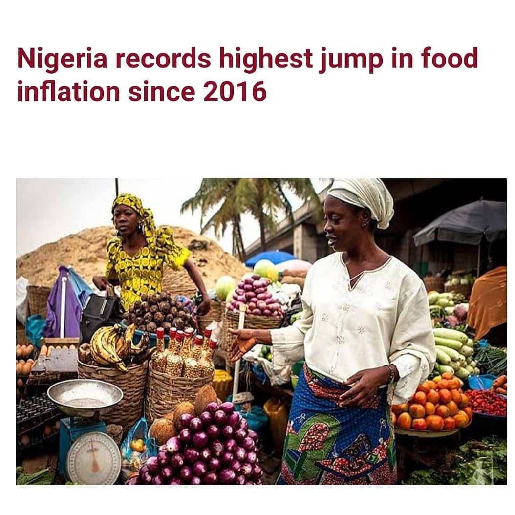 Nigeria's food inflation increased by 1.26 percent from 18.30 percent in November 2020 to 19.56 percent in December.  This is according to the December 2020 consumer price index/inflation report released by the National Bureau of Statistics, NBS, on Friday, Jan 15, 2021.  This is the highest jump in food inflation since May 2016 when it rose from 13.19 percent in April of that year to 14.86 percent.  The NBS said the increase in food inflation was caused by increases in prices of bread and cereals, potatoes, yam and other tubers, meat, fruits, vegetable, fish and oils and fats.  According to the report, the all items index which measures inflation increased from 14.87 percent in November to 15.75 percent in December.  This represents an increase of 0.86 percentage points.