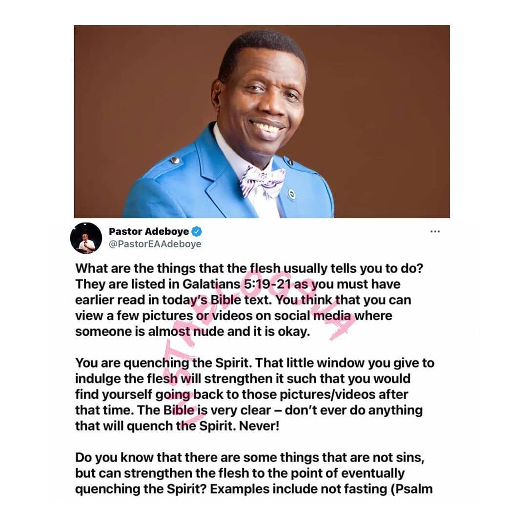 Silhouette challenge: You're quenching the spirit if you watch nude videos and photos on social media — Pastor Adeboye [Swipe]