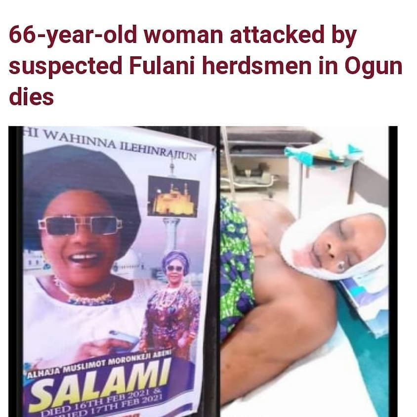 "66-year-old woman attacked by suspected Fulani herdsmen in Ogun dies  A 66-year-old woman, Alhaja Muslimot Morenikeji Salami, who was reportedly attacked by some suspected Fulani herdsmen in Ogun state has died.      It was gathered that Salami was attacked by the assailants while going to her site in the Oru-Awa Road in the Ijebu-North Local Government Area on Monday, January 11, 2021.   Alhaja Salami died on Tuesday, February 16 and was laid to rest the next day, Wednesday, February 17.       According to reports, Salami ran into some herds and attempted to make a quick reverse but was caught by the attackers.   The attackers numbering about eight reportedly emerged from the bush, cut off one of her fingers and shattered her jaw with bullets.   The victim was said to have been taken to a few hospitals including the state-owned Olabisi Onabanjo University Teaching Hospital but was rejected. She had to travel to the Lagos State Hospital, Ikeja, before she could get treatment.     Spokesperson of the command, Abimbola Oyeyemi, who confirmed the incident then said three suspects had been arrested.  ""Those people have a piece of land between Oru and Ago Iwoye. They went to inspect the land. One Alhaja who was going with them had excused herself with the promise that she would join them on the land,"" said Oyeyemi.    ""On getting to the land, they discovered that some Fulanis were attacking a labourer hired to clear the land in question. Those people immediately ran to those in the neighbourhood and in the process, the Fulanis left the victim and took to their heels. Unknown to the Alhaja, on her way to join the people, the Fulanis laid in ambush for her and opened fire on the vehicle she was driving. The woman was hit by a bullet and the Fulanis, who perpetrated the crime, ran away.   ""When the police were informed, they went to the scene and could not find any of them but they saw the cattle they left behind. The police, in conjunction with the local vigilante group and hunters didn't allow the cattle to leave the spot. Around 10pm, three Fulani men came to the spot with the aim of taking away the cattle and the police apprehended them."