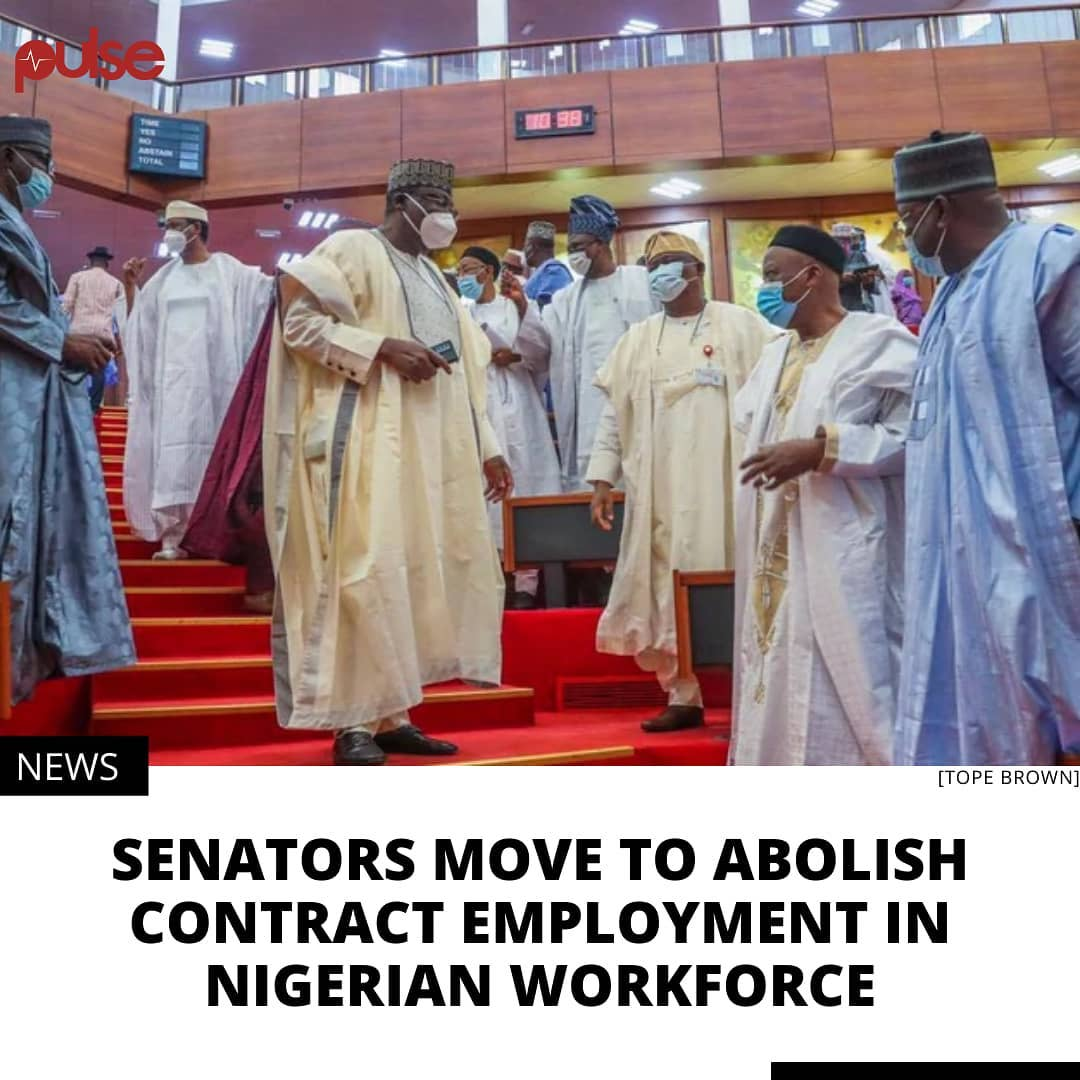 A bill to prohibit the casualisation of employment in the private and public sector in Nigeria passed second reading in the Senate on Thursday, February 18, 2021.  Contract employees are typically employed on a non-permanent basis without benefits such as health insurance, paid leave, and other compensation enjoyed by full-time employees. Sponsor of the bill, Senator Ayo Akinyelure (Ondo Central - PDP), described casualisation as an immoral strategy of cutting cost by employers, with many other lawmakers noting that it is detrimental to the nation's economy.  The bill seeks to protect vulnerable workers against unfair labour practices, impose legal duty on employers to convert casual employment to permanent status after three months of engagement, and criminalise casualisation. . .