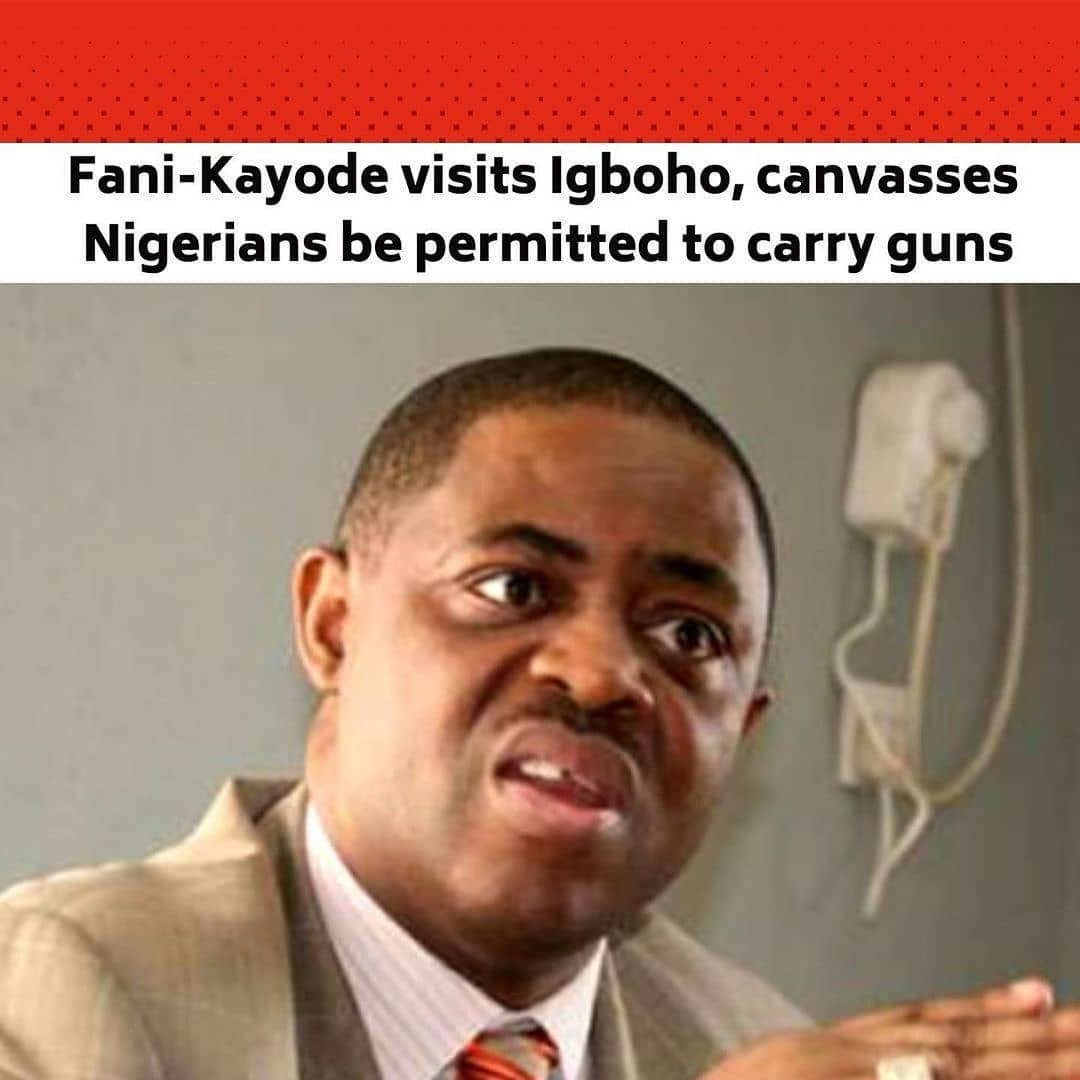 """A former Minister of Aviation, Chief Femi Fani-Kayode, has said Nigerians should be licensed to carry sophisticated arms like AK-47 if Fulani herdsmen are permitted to secure themselves with the same type of weapon. . He said this on Thursday when he visited Yoruba activist, Chief Sunday Adeyemo, who is popularly known as Sunday Igboho, at his residence in Ibadan. . Fani-Kayode said the best strategy to tackle the insecurity facing the nation was for the government to rise up to its responsibility to defend the people. . He, however, said another option to reduce mindless killings of law-abiding Nigerians was for the government to permit individuals to bear arms. . The former minister said since the Minister of Defence, Major General Bashir Magashi (retd), also urged Nigerians to defend themselves against kidnappers and killers, they should be allowed to carry sophisticated weapons to defend themselves effectively. . Fani-Kayode said, """"The Bauchi State Governor said a few days ago that Fulani herdsmen should be allowed to carry AK-47, but I disagree with him on that, but that is his own opinion. If you go by that principle, it makes absolute sense that if Fulani herdsmen are allowed to carry AK-47 to defend their cows and their lives if they feel threatened, then it is also logical that farmers, local people and each one of us to also have that right to defend ourselves against Fulani herdsmen or against those seeking to come and kill us. . """"I am totally behind that and I like that. Why not, Americans have that right. If we had that long time ago the killings we are witnessing now would not have the kind of atrocities being committed all over the country. . """"Insecurity is not limited to the South-West; you will be surprised at what is going on in the North. But the best way is for the government to rise up and defend us; that is why we pay them. """" @punchnewspapers"""