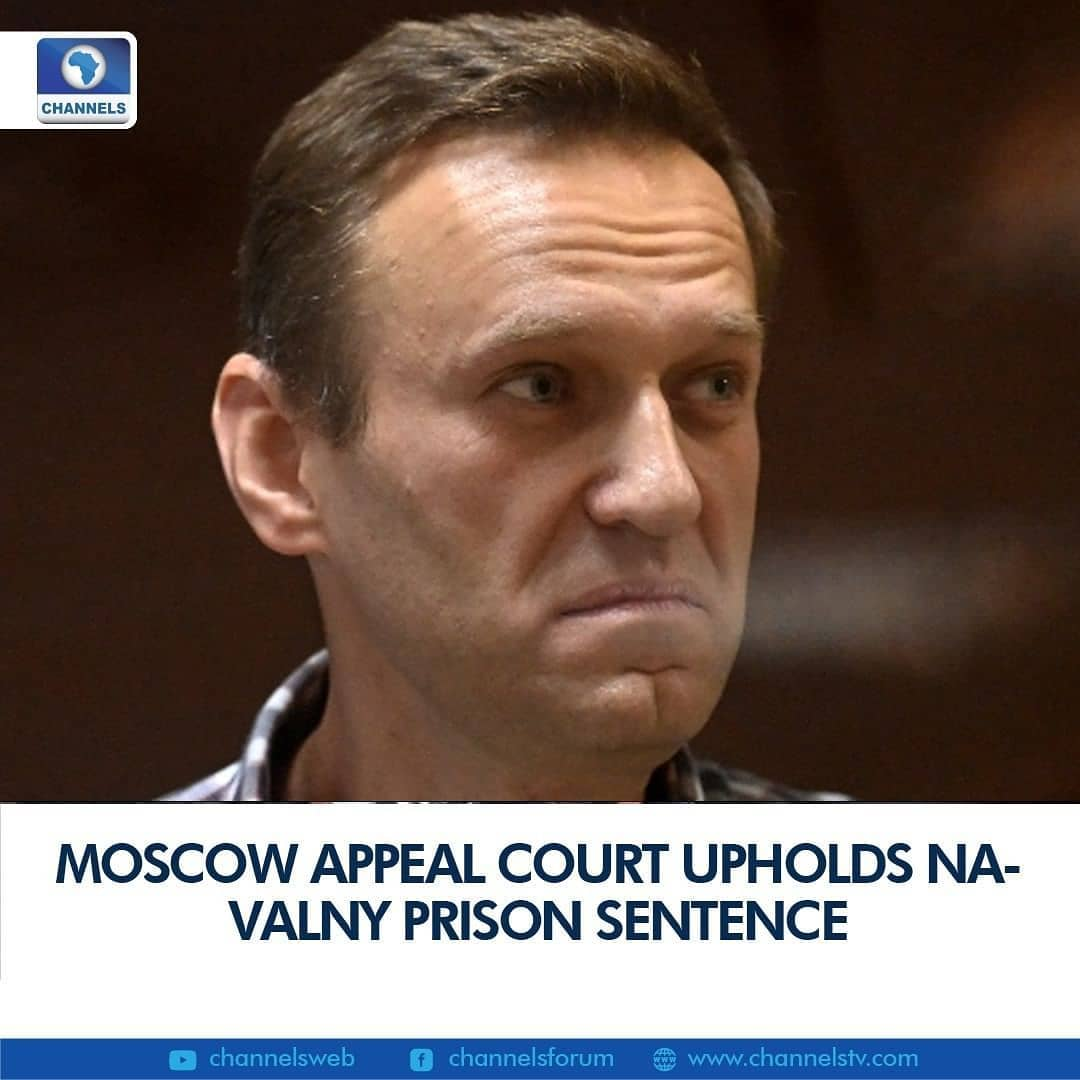 A Moscow court on Saturday upheld a ruling to jail the Kremlin's most prominent opponent Alexei Navalny, sealing his first lengthy prison sentence in a decade of legal battles with Russian authorities.  Judge Dmitry Balashov dismissed Navalny's appeal against a recent decision to imprison him for violating the terms of a suspended sentence on embezzlement charges.  The anti-corruption campaigner was ordered on February 2 to serve the time in a penal colony for breaching parole terms while in Germany recovering from a nerve agent poisoning he blames on the Kremlin.  Navalny appeared in court Saturday inside a glass cage for defendants, wearing a plaid shirt, smiling, waving and flashing the V for victory symbol.  In a closing address that referenced the Bible and Harry Potter, Navalny said he had no doubts about his decision to return to Russia.