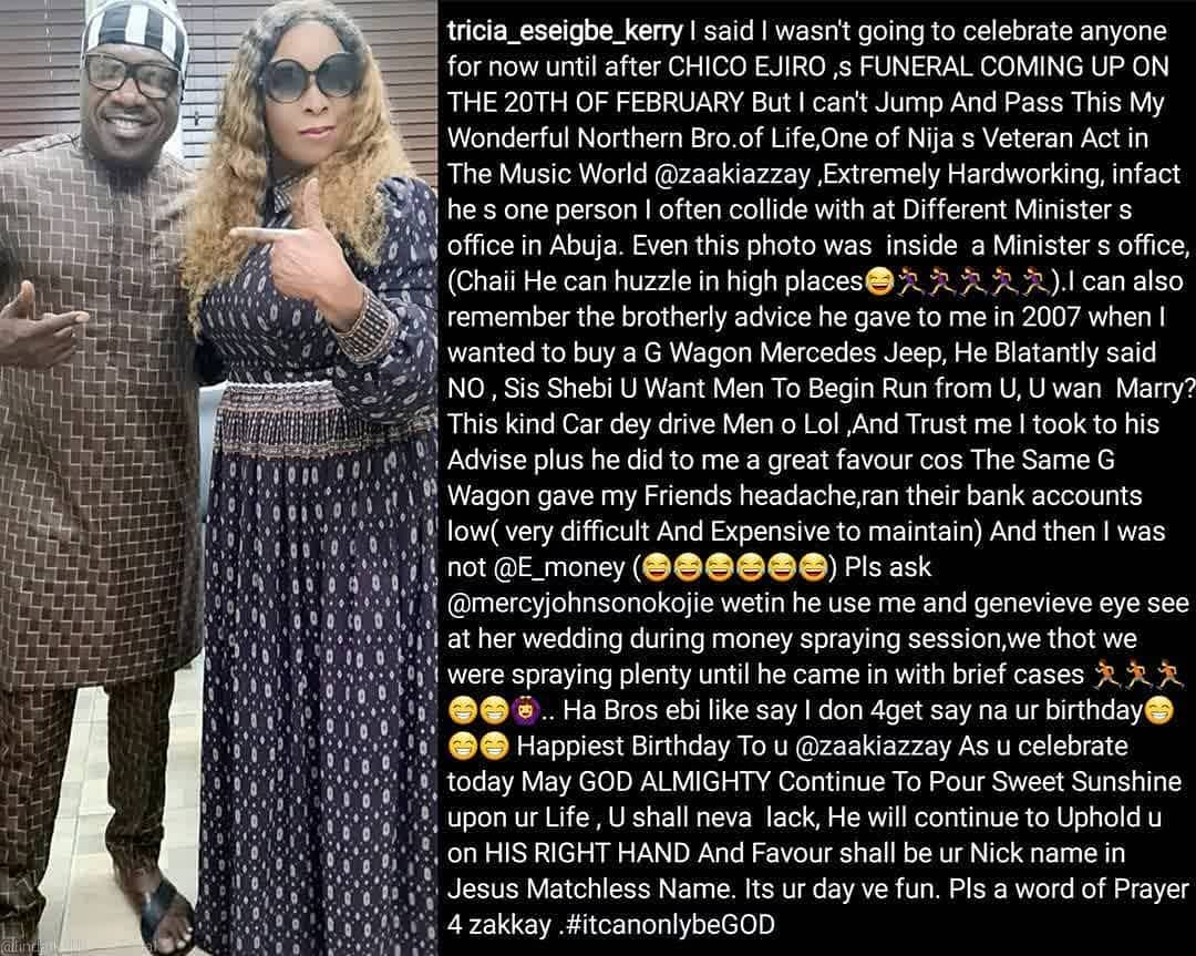 Actress Tricia Eseigbe narrates how singer Zaaki Azzay discouraged her from buying G Wagon to avoid chasing prospective husbands away.