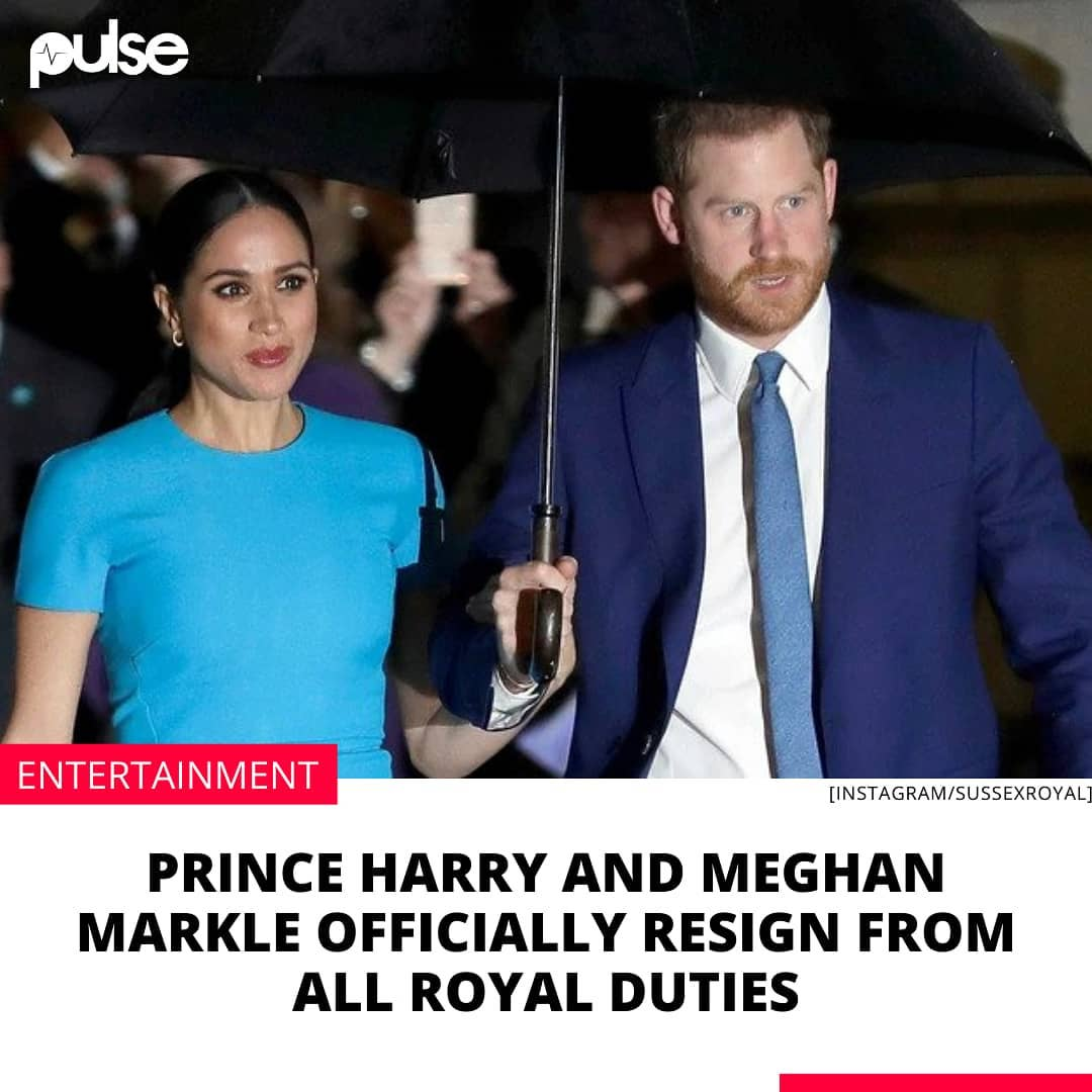 """British royals Prince Harry and his wife Meghan Markle have officially resigned from all royal duties.  According to a statement released by Buckingham Palace on Friday, February 19, 2021, Prince Harry and Meghan Markle will no longer serve as working members of the royal family.  """"Following conversations with The Duke, The Queen has written confirming that in stepping away from the work of The Royal Family it is not possible to continue with the responsibilities and duties that come with a life of public service,"""" the statement read.  It also stated that the couple's honorary military appointments and royal patronages would be returned to Queen Elizabeth II to be redistributed.  """"While all are saddened by their decision, The Duke and Duchess remain much loved members of the family,"""" the statement concluded.  Harry and Meghan are expecting a baby shocked the world in January 2020, when they announced that they would be stepping back as senior members of the royal family.  The couple announced the shocking news via their official Instagram page on Wednesday, January 8, 2020.  Prince Harry and Meghan Markle got married in 2018 at a star-studded wedding held in England. """