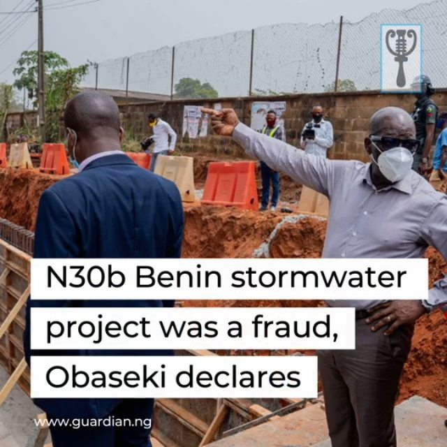 "Edo State Governor, Godwin Obaseki, yesterday, declared that the N30b Benin stormwater project embarked upon by the previous administration was a ploy to defraud Edo people.⁣  ⁣ Obaseki stated this while inspecting the Textile Mill Road catchment of the project in Benin City.⁣ ⁣ He said the stormwater project, conceived by the previous administration, was designed not to work for the benefit of Edo people, adding that his administration will probe the project and recover all the money stolen through it.⁣ ⁣  ⁣ ""The stormwater project was a fraud. It was a contract to defraud Edo people. From what I see in this catchment area, the project was never designed to take water away from the area. The area was never drained.⁣ You can see the level of what we are doing now compared with what the previous administration did,"" he said.⁣ ⁣ Speaking further, he said: ""It is almost two-meter difference. There is no way you can drain water from a low land into higher ground. We say we have experts and paid over N30b for this project. The person that supervised this project today calls himself a minister supervising bigger projects for the Federal Government. This is not acceptable.""⁣ ⁣ He added that the previous administration spent huge sums of money on the water storm project claiming that on completion, it would drain water from the area and restore the property of Edo people resident in the area.⁣ ⁣"