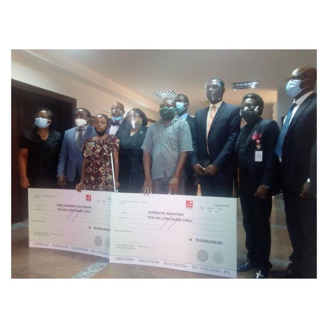 "#EndSARS : Lagos judicial panel awards N20m to two victims of police brutality . . The Lagos State Judicial Panel of Inquiry, on Friday, gave a cheque of N10m each to two petitioners who fell victim of stray bullets fired by men of the disbanded police Special Anti-Robbery Squad. . . One of the compensated victims was a 35-year-old hairdresser, Mrs Hannah Olugbodi, who told the retired Justice Doris Okuwobi-led panel that she ended up on a crutch after her left leg was shattered by a stray bullet fired by SARS cops who were attempting to arrest a young man with tattoos in June 2018 in the Ijeshatedo area of Lagos. . . Olugbodi, who presented her case before the panel on November 28, 2020, told the panel that she had been rendered incapacitated since the incident happened and pleaded with the panel to help her get justice. . . ""For two years, I have been at home, doing nothing. The panel should compensate me and my two kids. It is only my husband that is doing everything,"" Olugbodi had said. . . In a positive response to her plea, the panel presented a N10m cheque to Olugbodi, who was accompanied by her lawyer, Akeem Fadun.  The second petitioner, Abayomi Adebayo, who also got a N10m cheque, had last year narrated to the panel how his mother was killed in the Mushin area of Lagos in 2016 by a SARS stray bullet. . . The petitioner said the policemen who killed his mother were from Olosan Police Station, adding that the police initially denied responsibility but later admitted and then Commissioner of Police in Lagos State, Fatai Owoseni, paid his family a condolence visit. . . He said though Owoseni pledged that his family would get justice two years after, nothing had been done. Adebayo specifically pleaded for N10m compensation for his family. The panel, on Friday, granted his N10m request, and in addition awarded scholarship to the children of the deceased. . . Furthermore, the panel ordered the prosecution of the policemen responsible for the stray bullet that killed the woman and also asked the police authorities to tender an apology to the family of the deceased."