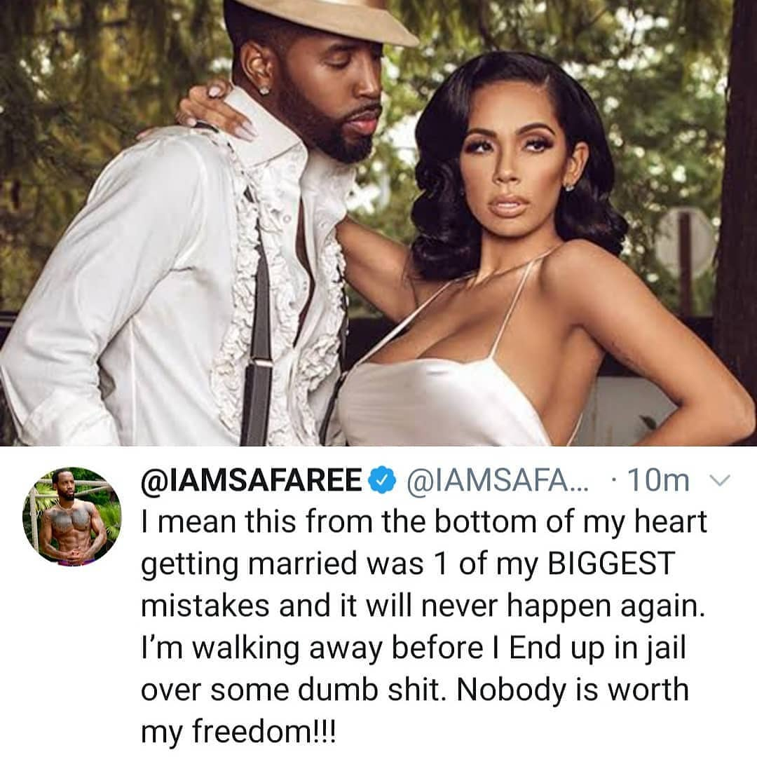 """Getting married is one of my biggest mistakes"" Safaree says one day after sharing loved up video with wife Erica Mena.  He adds that he's leaving before he ends in jail.  The couple has been married for only 1 year."