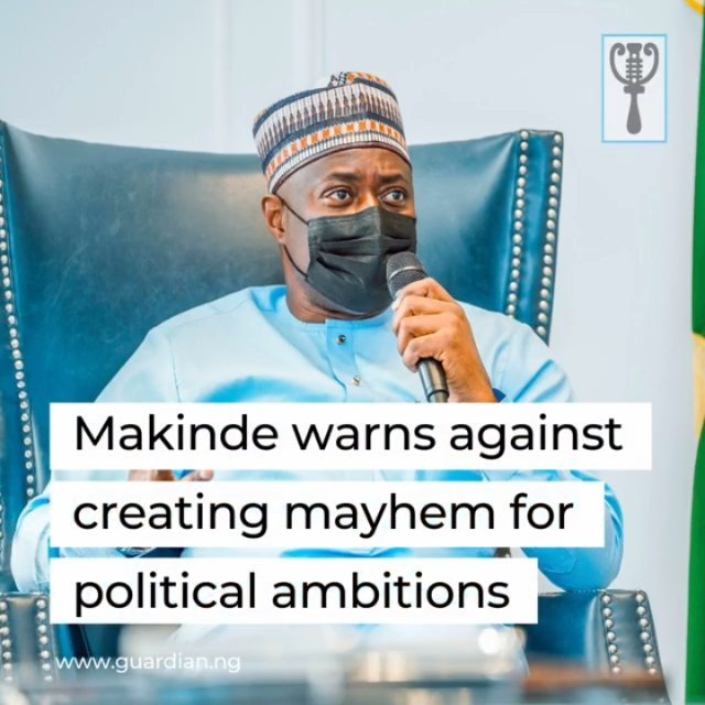 "Governor Seyi Makinde of Oyo State, yesterday, warned politicians and others bent on creating chaos in the state for purposes of having undue advantage, calling on them to have a rethink.⁣ ⁣ Speaking at the quarterly broadcast on the Broadcasting Corporation of Oyo State (BCOS), Makinde noted that government would come and go, but the state will remain.⁣ ⁣ He urged residents to do everything possible not to destroy the state for the present and next generations.⁣ ⁣ Makinde said: ""So many people have come to meet me, saying Ibadan people are not easy to govern. Personally, I apply logic in whatever I have to do, but if the problem is not solved, it will keep coming back. I believe we have to govern by consensus, consultation and by seeking alignment. If all of us agree on what to do, we are likely to succeed, rather than coercing people.⁣ ⁣ ""Quite frankly, some people might be confused; some might have something else in mind. But I believe we are moving somewhere, because people have input in most of the policies and projects we are doing. Consequently, we have had tremendous support from the people of Oyo State and that is the way we intend to keep it.⁣ ⁣ ""Some people may say governing Oyo State is difficult because it is big. But I would say governing Oyo State is quite simple. Yes, some of the challenges we are going through could be complex, but solutions to them are very simple.⁣ ⁣ ""There are people who think that what can make them get to the seat of governance is to create chaos every now and then. But I have news for them. For you to govern Oyo State, there must first of all be a state to govern. If you destroy our state, what are you coming back to govern?""⁣ ⁣"