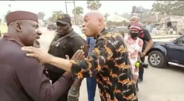 """HOW FORMER GOVERNOR ROCHAS OKOROCHA WAS ARRESTED TODAY: The State Police Public Relations Officer, PPRO, Orlando Ikeokwu, confirmed this to newsmen in Owerri. He said that the police moved to Akachi road when they received a distress call that the Royal Palm spring  Estate sealed by the government had been violently opened by men led by Okorocha. Orlando briefly said: """"The command received a distress call regarding what we termed to be unrest at Royal Spring palm estate, and the operatives moved to the place we discovered Okorocha led some persons to the place hitherto sealed by the IMO government. """"The command calmed the situation and invited Okorocha, to come and explain why he led the violent breaking into the estate that led to damages."""" Vanguard investigation also revealed that those arrested alongside Okorocha included some of his former political appointees, Steve Asunobi, lasbery Anyanwu and Ijeoma Igboanusi."""