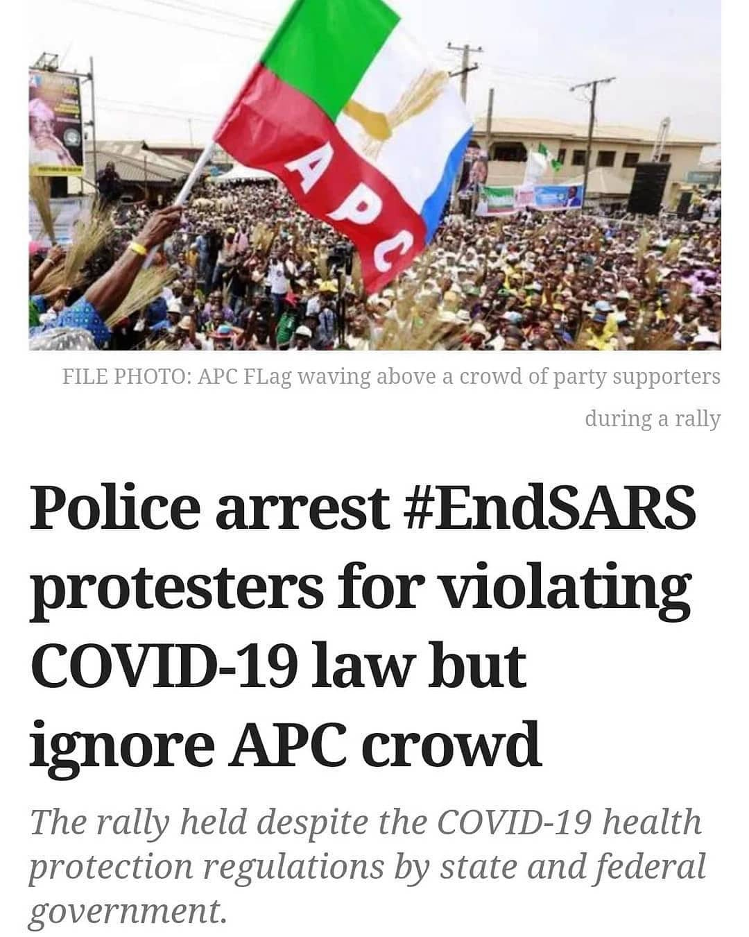 "Hundreds of members of the All Progressives Congress in Lagos on Friday crowded into a street in Agege for a sensitisation rally, in clear violation of the state's COVID-19 law.  In a video obtained by PREMIUM TIMES, top party members of the party, including Mudashiru Obasa, the speaker of the Lagos State House of Assembly, were in attendance.  The rally held despite the ban on the gathering of more than 50 persons by the Lagos State Infectious Disease law and the COVID-19 Health Protection Regulations recently passed by President Muhammadu Buhari.  In the video, the crowd at the rally sang in honour of Mr Obasa, who, as Speaker of the House, is the number three man in the Lagos State government.  Despite playing a key role in the passing of the Lagos Infectious Diseases (Emergency Prevention) Regulations, 2020, Mr Obasa addressed the crowd, who flagrantly violated COVID-19 protocols.  Speaking in the Yoruba language, the Speaker said there is a need for them to support the state government an  ""Let us not fight one another, we need to dwell in love and also support the party,"" he said in the opening of the video, with the crowd singing his praises.  He also told the party members that the state governor will open the Pen Cinema bridge, which is near completion ""within the shortest time.""  ""We are hopeful that the Pen Cinema Bridge will bring development to the Agege Constituency. We need to appreciate our governor and also support him because government is for everybody.  ""We need to support elected officeholders. This bridge, for instance, if we see bad elements in the society trying to damage it, we should do our best to stop them,"" Mr Obasa said.  The rally held on Friday, a day when markets across the state were shut to honour Lateef Jakande, the first civilian governor of Lagos State, who passed away last week. : @premiumtimes"