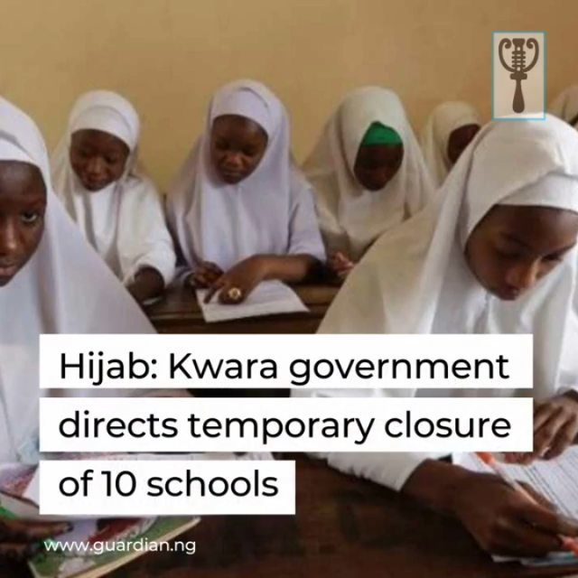"Kwara State Government has directed immediate temporary closure of some grant-aided schools in Ilorin, the state capital, pending resolution of the Hijab question in the schools.⁣ ⁣ Permanent Secretary, Ministry of Education and Human Capital Development, Mary Kemi Adeosun, said yesterday in a statement. However, former Secretary of Christian Association of Nigeria (CAN) Kwara state chapter, Olusola Ajolore has criticised this, questioning the rationale for the closure after a very long time at home due to the COVID-19 lock-down.⁣ ⁣ The affected schools are, Cherubim and Seraphim College Sabo Oke, St. Anthony College, Offa Road, ECWA School, Oja Iya, Surulere Baptist Secondary School, Bishop Smith Secondary School, Agba Dam, CAC Secondary School Asa Dam, St. Barnabas Secondary School Sabo Oke, St. John School Maraba, St. Williams Secondary School Taiwo Isale and St. James Secondary School Maraba.⁣ ⁣ According to Adeosun, ""the closure came as a government committee comprising representatives of the Muslim and Christian communities met yesterday to iron out the differences between the two communities and further communication will be issued to inform members of the public on the development."" They called for calm and urged parents and religious leaders to avoid actions or comments that may further split the two communities.⁣ ⁣ For more, visit www.guardian.ng ⁣ ⁣"