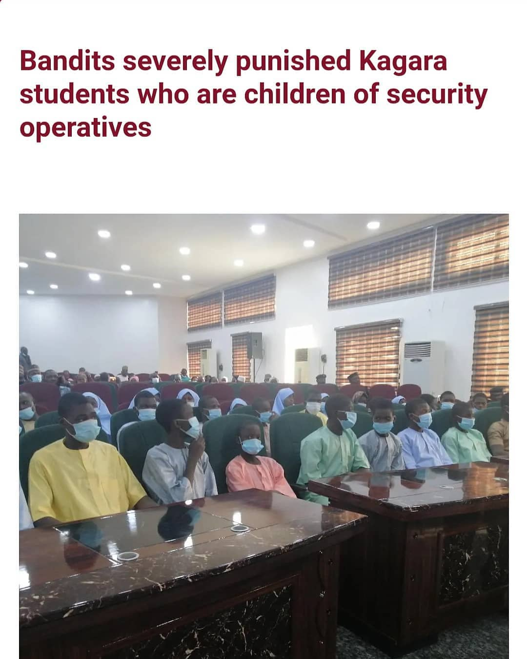 """Some students of Government Science College, Kagara, Niger State who regained freedom after being abducted by unknown gunmen, have shared their experience in captivity.  Recall that the gunmen had invaded the school on February 17, whisking staff and students into the forest after operating unchallenged for over two hours.  Some of the students narrated their experience after meeting with Governor Abubakar Sani Bello at government house in Minna on Saturday February 27.   Twenty-year-old Abubakar Sidi, an SS3 student, said they were punished based on their parents' occupation. He told Daily Trust that those who were children of security operatives, were punished severely.   He said """"We didn't get food to eat till night the first day but they later fed us, and after feeding us they asked us about our parents' occupation. 'If you father is a policeman, come here.' 'If your father is a soldier, come here.'  """"They beat us seriously but the beating was based on the occupation of our fathers. I wish I could die because the beating was too much. It was really tough in the forest.""""  Mahmood Mohammed, another student, said he was delighted having the opportunity to reunite with his loved ones.  He said """"I faced hell in captivity; it was not easy at all. I did not even know that I will come out again. I felt inside the bush and they didn't take care of me… I am very happy because God has given me the opportunity to reunite with my loved ones.  """"We are happy to see all the government officials who came out in their numbers to welcome us. This has shown to us the level of concern they have towards us while we were in the wilderness. My decision of going back to the school is in the hands of my parents."""""""
