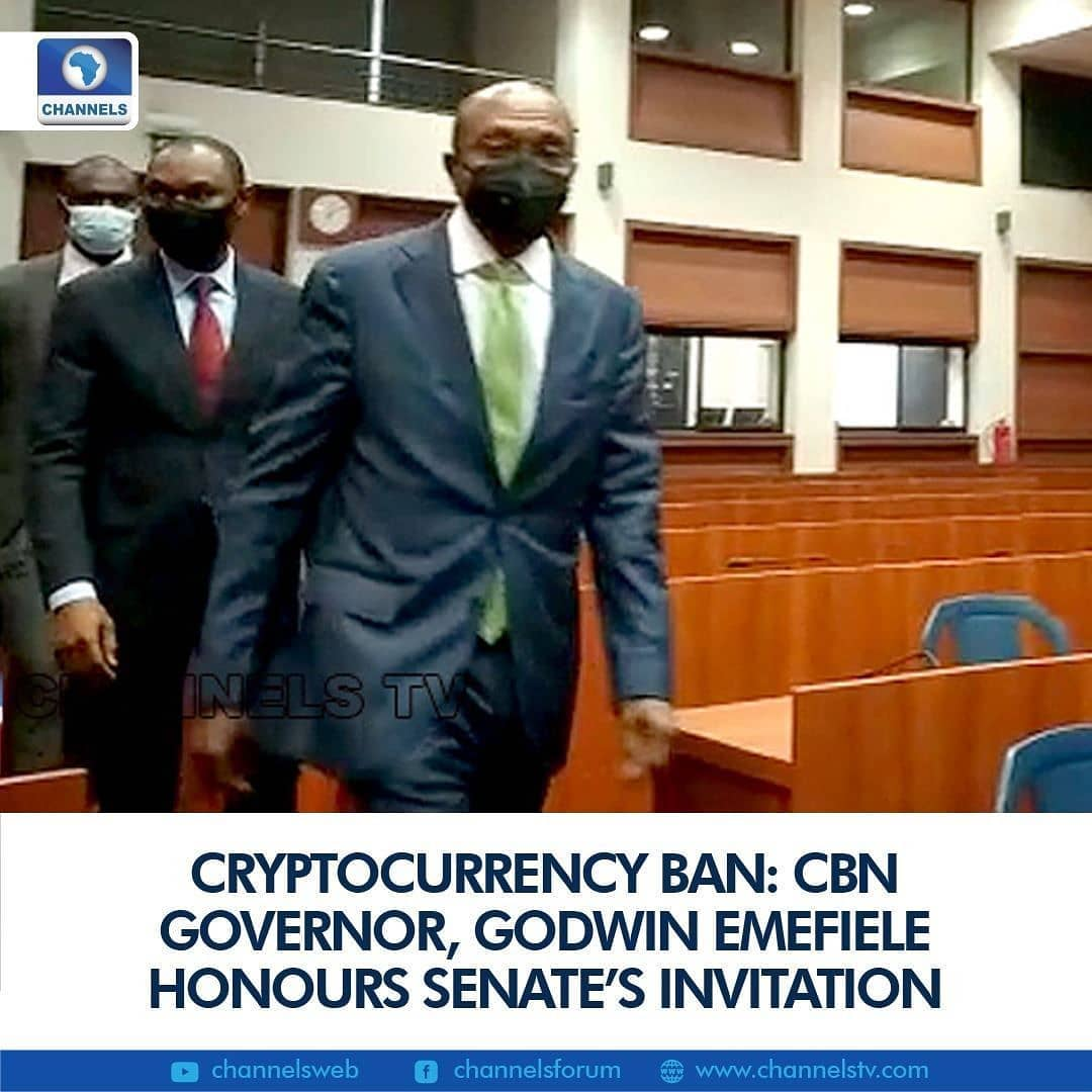 The CBN Governor, Godwin Emefiele has arrived at the National Assembly to honour the request by the Senate Joint Committee on Banking Insurance and other financial institutions, (including ICT and cybercrime) to brief on the opportunities and threats of cryptocurrency on the nation's economy.  The decision by the Senate to invite the CBN governor is sequel to a motion by a federal lawmaker, Senator Istifanus Gyang during plenary on February 11, on the CBN's directive to stop financial institutions from transactions in cryptocurrencies and matters arising from them.   The federal lawmakers called for caution, pointing out that while cryptocurrency has its negative sides and it has become the fastest-growing form of transaction all over the world.  They argued that technology has changed the way business is conducted in Nigeria and the country cannot run away from cryptocurrency.  The CBN had on February 5, ordered all banks to close accounts of anyone who transacts in cryptocurrency.  The order was contained in a circular to banks and other financial institutions, signed on Friday by the Director of Banking Supervision, Bello Hassan, and it is expected to take effect immediately.  According to the CBN, dealing in cryptocurrency or facilitating payments for cryptocurrency exchanges is prohibited.