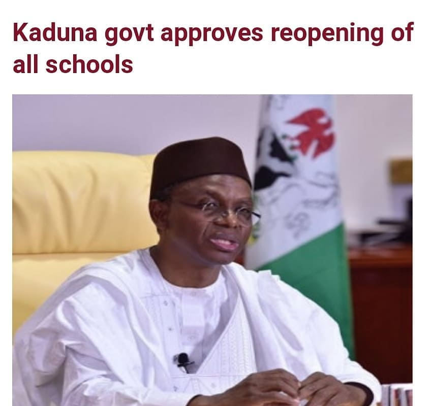"""The Kaduna state government has approved Monday, February 22, 2021, as the resumption date for all schools in the state.  The State Commissioner for Education, Dr. Shehu Muhammad, in a statement on Friday, directed that all SS2, SS1, JSS2 in public and private secondary schools as well as Primary 4, 5 and 6 for public primary schools and Primary 3, 2, 1 and Nursery classes for private primary schools, including Islamiyah schools should reopen.  Dr. Shehu said the state ministry of education had also directed all principals and headteachers to make arrangements to receive boarding and day students of the above classes on Monday, February 22, 2021.  The commission also assured that the state's COVID-19 Task Force will continue to monitor all schools to ensure a safe learning environment against the pandemic is strictly adhered to and maintained in addition to the continued enforcement of the COVID-19 Guidelines put in place by the State government.  """"All administrators of public and private schools must continue to comply with all COVID-19 protocols as any violation may lead to the closure of the affected school without any notice.  """"Schools will continue to run shifts to enable them to sustain the guidelines already in place and take personal responsibility for their own health by continuing to abide by the simple preventive measures already in place.  """"School administrators of public and private schools should continue implementing the blended learning system while the Ministry is assuring the public of continuing the e-learning program using Google classrooms, radio and television stations and other online platforms,"""" he added."""