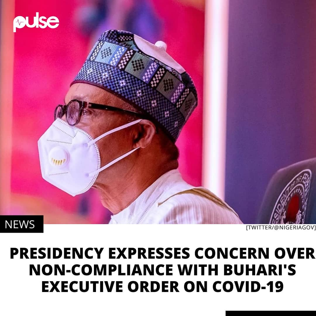 """The Presidency has expressed concern over reports of non-compliance with the recently-signed Executive Order that makes mask wearing and observation of social distancing in the public mandatory.  A statement issued by Malam Garba Shehu, the President's spokesman, in Abuja on Sunday, appealed to Nigerians to give their maximum cooperation for the success of the policy. He said that President Muhammadu Buhari had introduced the order with the best of intentions and not with any motive to punish citizens.  Shehu appealed to state governments, traditional rulers and religious leaders to play active roles in the sensitisation and enforcement of the Executive Order.  """"To achieve this, COVID-19 task forces and committees should persuade members of the public to cooperate with government in achieving compliance and avoid crude methods that may create resistance and resentment, thereby defeating the primary goal of the Executive Order.  """"The Buhari-led administration is most reluctant to lockdown the country and continues to emphasise the non-pharmaceutical measures, and the only way to avert lockdowns is to observe these measures, as put in place by the Presidential Task Force.  """"Nigerians have come a long way from the dreaded lockdown and the administration is unhappy about any prospect of bringing it back, as many citizens will not have food on the table without venturing out on a day-to-day business.  """"Nigerians are required to wear masks, wash hands regularly with soap and clean water, and keep safe distance with anybody not in their household, hoping that this will help check the spread of COVID-19,"""" he said . ."""