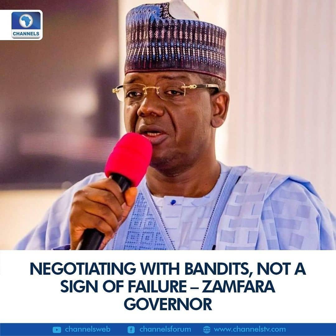 Zamfara State Governor, Bello Matawalle on Monday said negotiating with bandits is not a sign of failure.  He disclosed this at the Government House in Gusau while receiving some repentant bandits who surrendered their weapons and embraced his administration's peace deal.  Governor Matawalle believes the only way to put a stop to the current insecurity in the state is to dialogue with the bandits.
