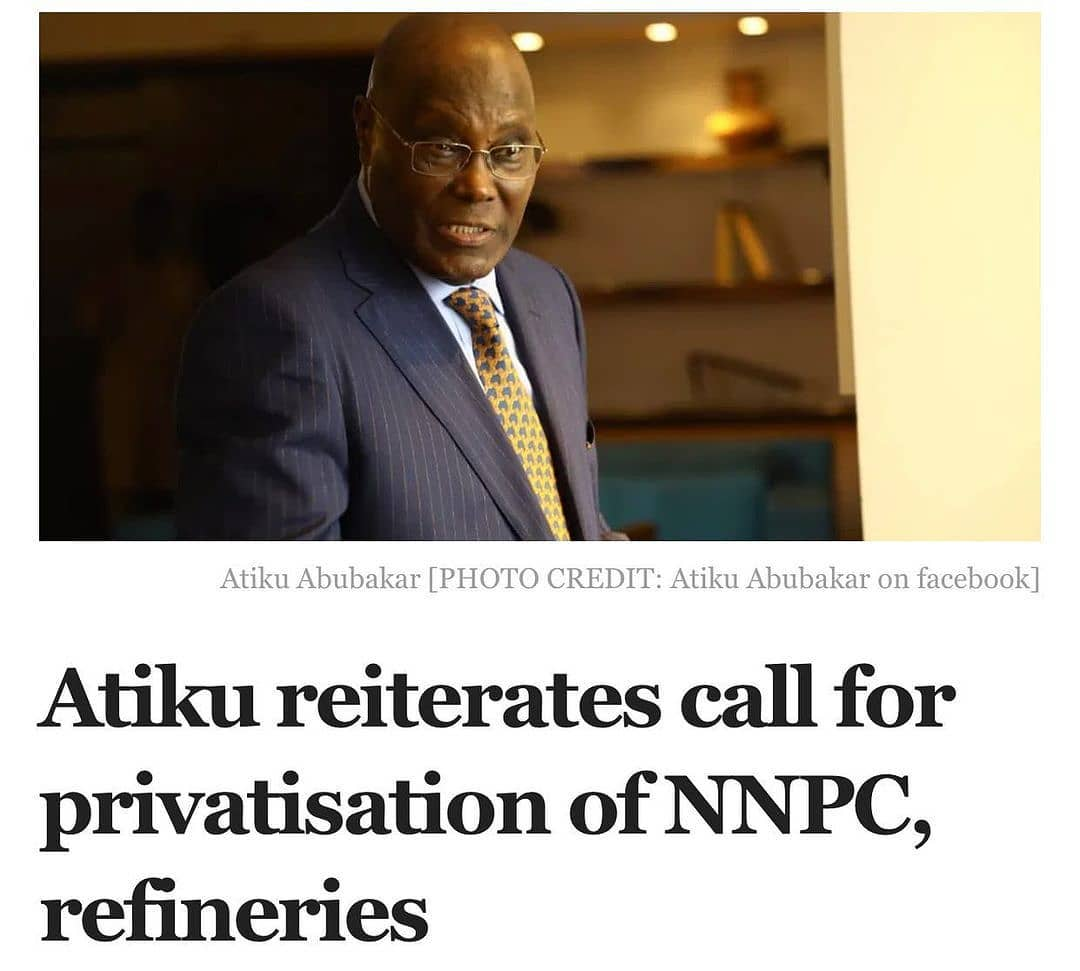 """A former vice president, Atiku Abubakar, has again called on the federal government to sell off the Nigerian National Petroleum Corporation (NNPC) and its refineries.  Mr Abubakar repeated the call on Sunday as part of his recommendations for defusing Nigeria's high unemployment time bomb.  His statement was in reaction to a report from Bloomberg Business on Saturday that Nigeria will soon have the highest unemployment rate on Earth, with an over 33 percent rate.  The National Bureau of Statistics (NBS) had said Nigeria's unemployment rate rose to 33.3 per cent in the final quarter of last year, indicating that 23.2 million or one in three working age Nigerians have no jobs or trade. This is the highest unemployment rate in Nigeria in at least 13 years and the second-highest in the world  In his statement on Sunday, Mr Abubakar said the Bloomberg report had proven him right on the state of the economy.  """"I have never felt so bad at being proven right, as I am by the report from Bloomberg Business on Saturday, March 27, 2021 that Nigeria is to emerge as the nation with the highest unemployment rate on Earth, at just over 33%.  """"We warned about this, but repeated warnings by myself and other patriots were scorned. And now this. """"How did Nigeria get here? We got here by abandoning the people-centred leadership and free trade and deregulatory policies of the Obasanjo years (which saw us maintain an almost single digit unemployment rate), and implementing discreditted command and control policies that have led to massive capital flight from Nigeria. """"And even with the paucity of funds, we continue to ramp up government involvement in sectors that ought to be left to the private sector, with the latest being the ill advised $1.5 billion so called rehabilitation of the Port Harcourt Refinery that has failed to turn a profit for years."""" According to him, the government must realise that the insecurity Nigeria is facing is the result of youth unemployment. """"Idleness is the w"""