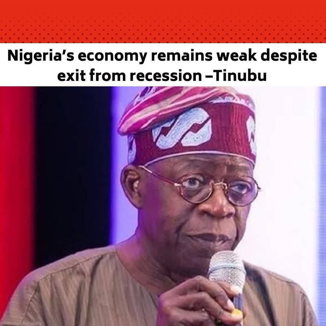 """All Progressives Congress chieftain, Bola Tinubu, says though Nigeria has exited recession, the country's economy remains weak. . Tinubu stated this in Kaduna on Saturday while delivering a speech as the chairman of the 2021 Sardauna Memorial Lecture held in honour of one of Nigeria's founding fathers, the late Sir, Ahmadu Bello. . The PUNCH had earlier reported that the National Bureau of Statistics last month said that Nigeria's Gross Domestic Product recorded a slight growth of 0.11 per cent in the fourth quarter of 2020, indicating the country's exit from recession. .  Speaking on Saturday on the topic, 'Reduction of the Cost of Governance for Inclusive Growth and Youth Development in Northern Nigeria in a Post-COVID-19 Era', the former governor of Lagos State said though the regime of the President, Major General Muhammadu Buhari (retd.), put buffers in place during the recession, the country's economy still remained weak with """"too much unemployment"""". . Tinubu said, """"In the midst of our local challenges came the COVID-19 pandemic, with its debilitating impact on the global and domestic economies. Nigeria, like many other countries, has not been spared the impact of the pandemic. . """"Commendably, however, President Muhammadu Buhari has been carefully steering the country through the pandemic such that the negative impact on us and the economy has not been as harsh as it might have been. The economy's relapse into recession has ended but we must admit the economy remains weak with too much unemployment and resources left idle."""" . The APC stalwart also warned against wasteful spending amongst government officials, saying government must spend money to yield economic returns for the benefit of the masses. . He said, """"Fiscal wisdom but not necessarily austerity is required for an economy like ours in a time like this, to ensure equitable wealth redistribution and meaningful use of resources. . """"The years have shown that the private sector is much too weak to spur the"""